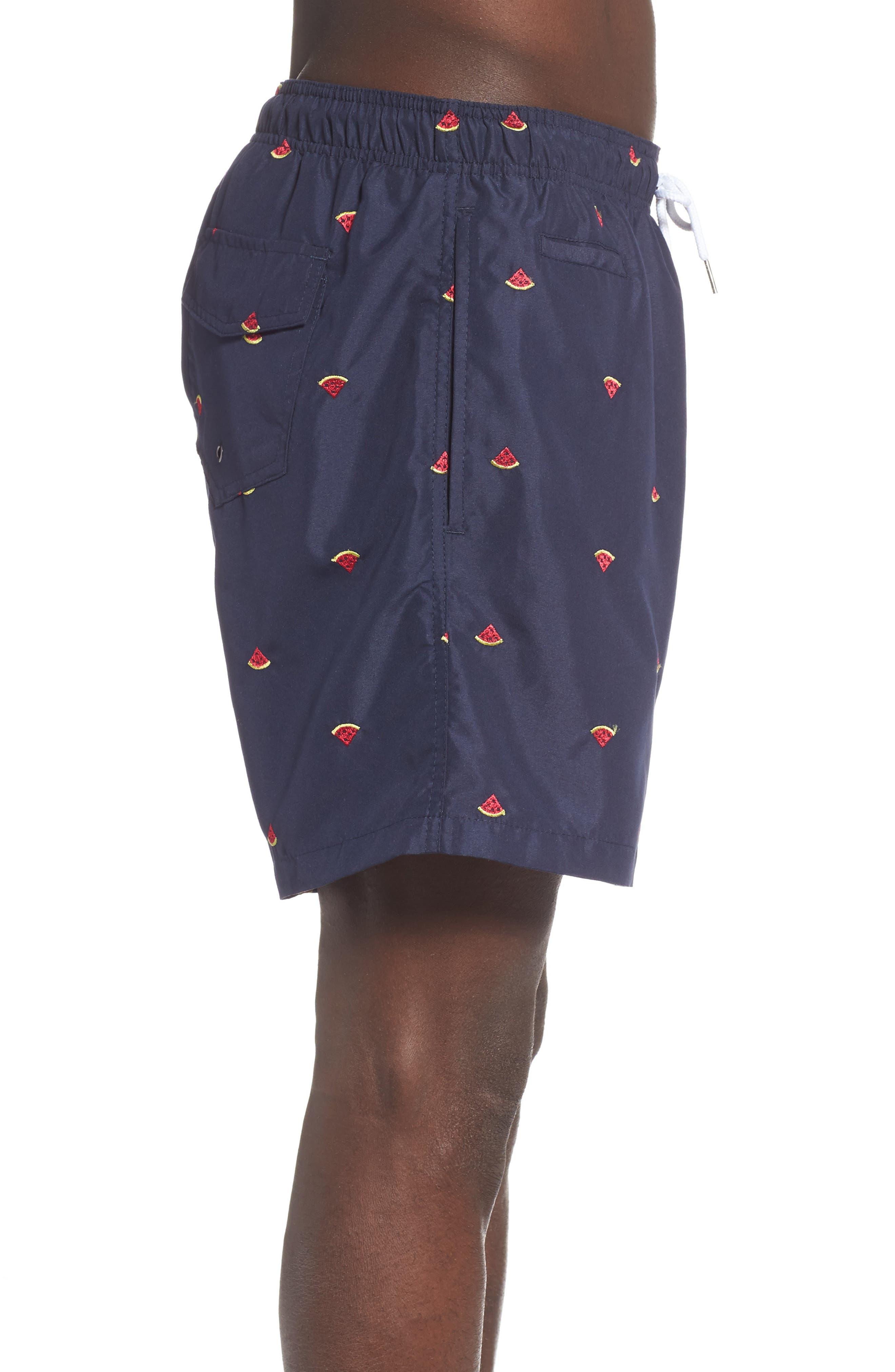 Premium Embroidered Sano Swim Trunks,                             Alternate thumbnail 3, color,                             WATERMELON DRAWING