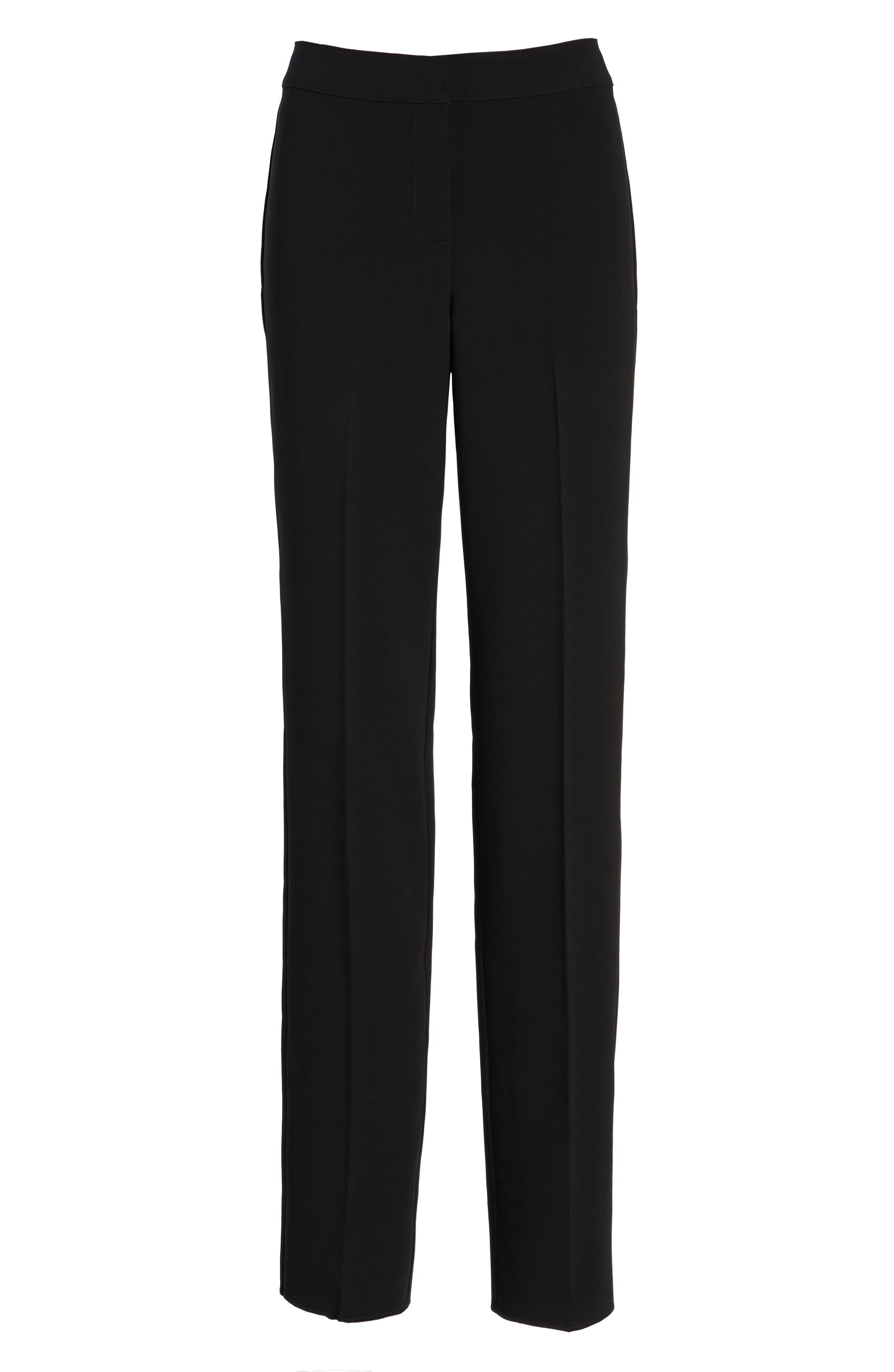 Diana Straight Leg Crepe Marocain Pants,                             Alternate thumbnail 2, color,                             CAVIAR