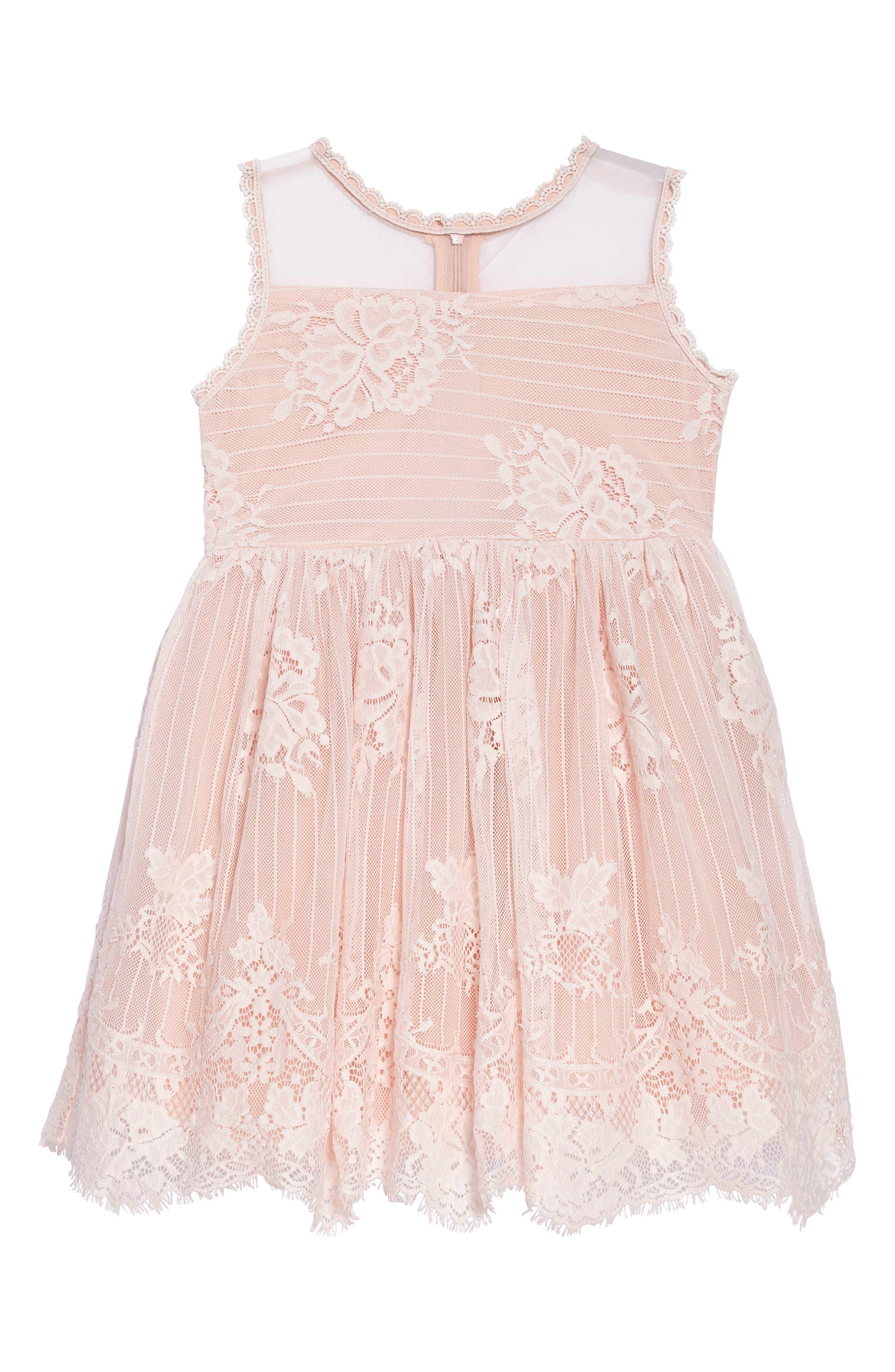 Lace Fit & Flare Dress,                             Main thumbnail 1, color,                             650