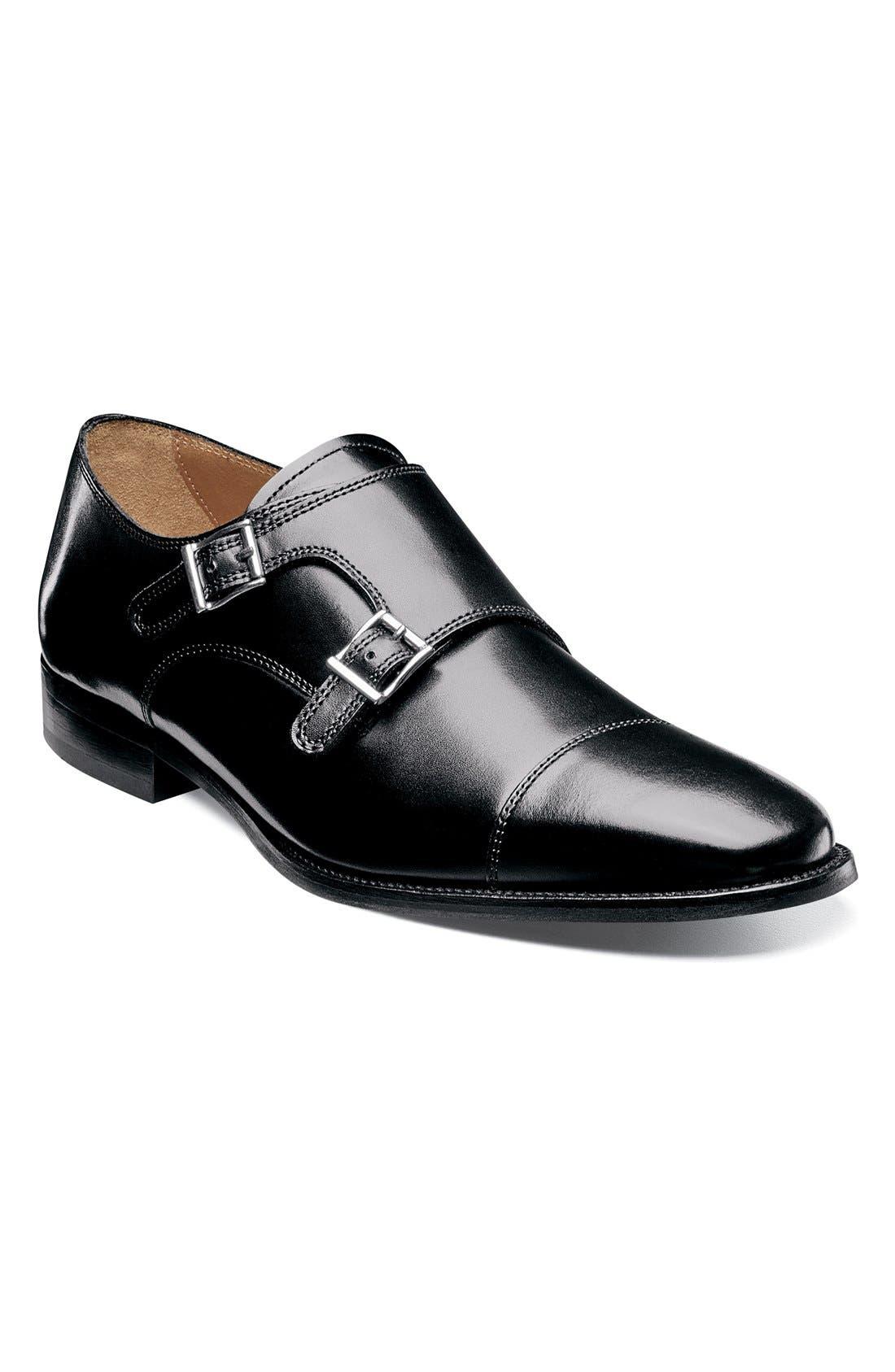 'Sabato' Double Monk Strap Shoe,                             Main thumbnail 1, color,                             001