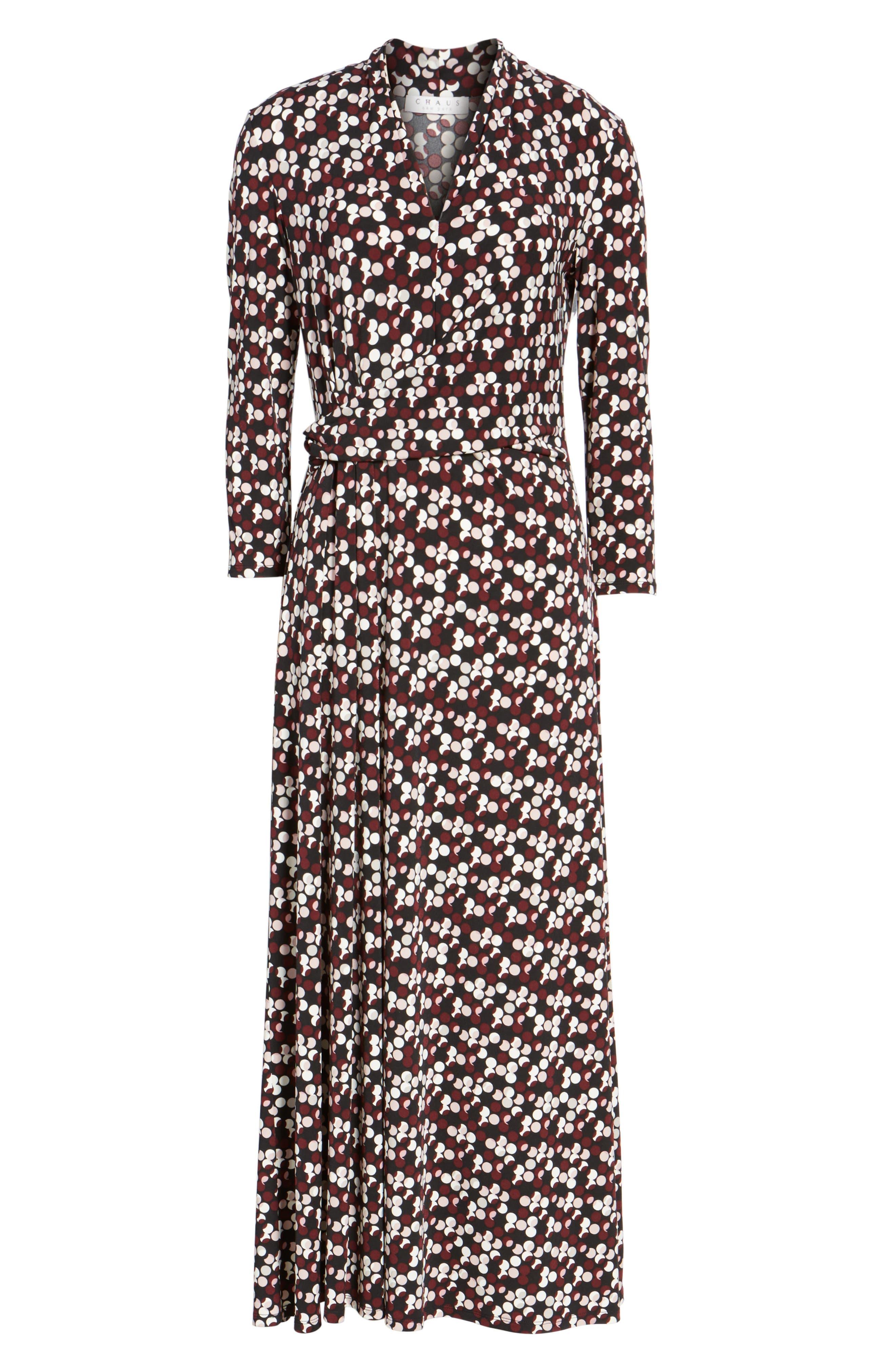 Dot Print Midi Dress,                             Alternate thumbnail 6, color,                             006