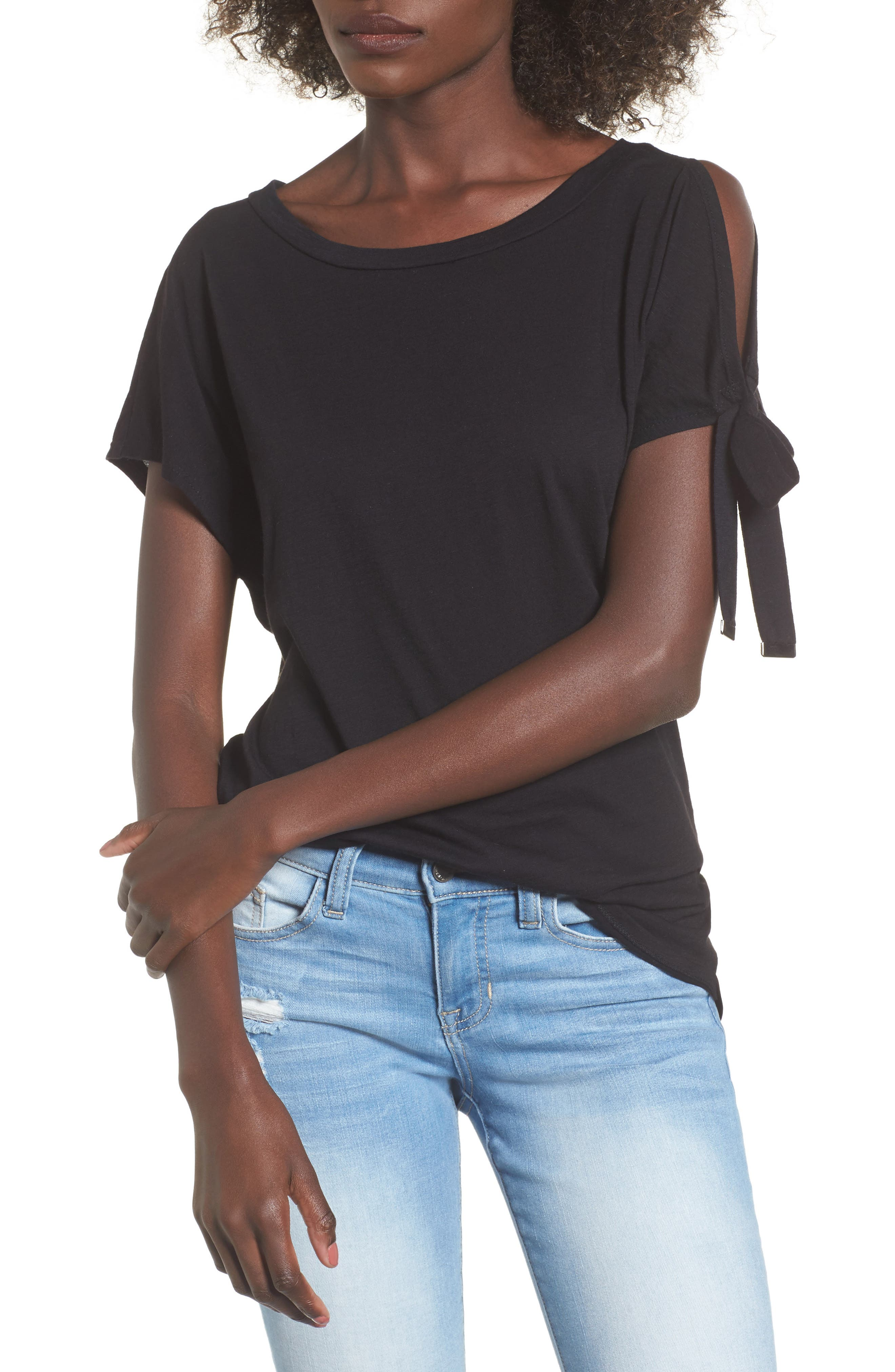 One-Shoulder Tie Tee,                             Main thumbnail 1, color,