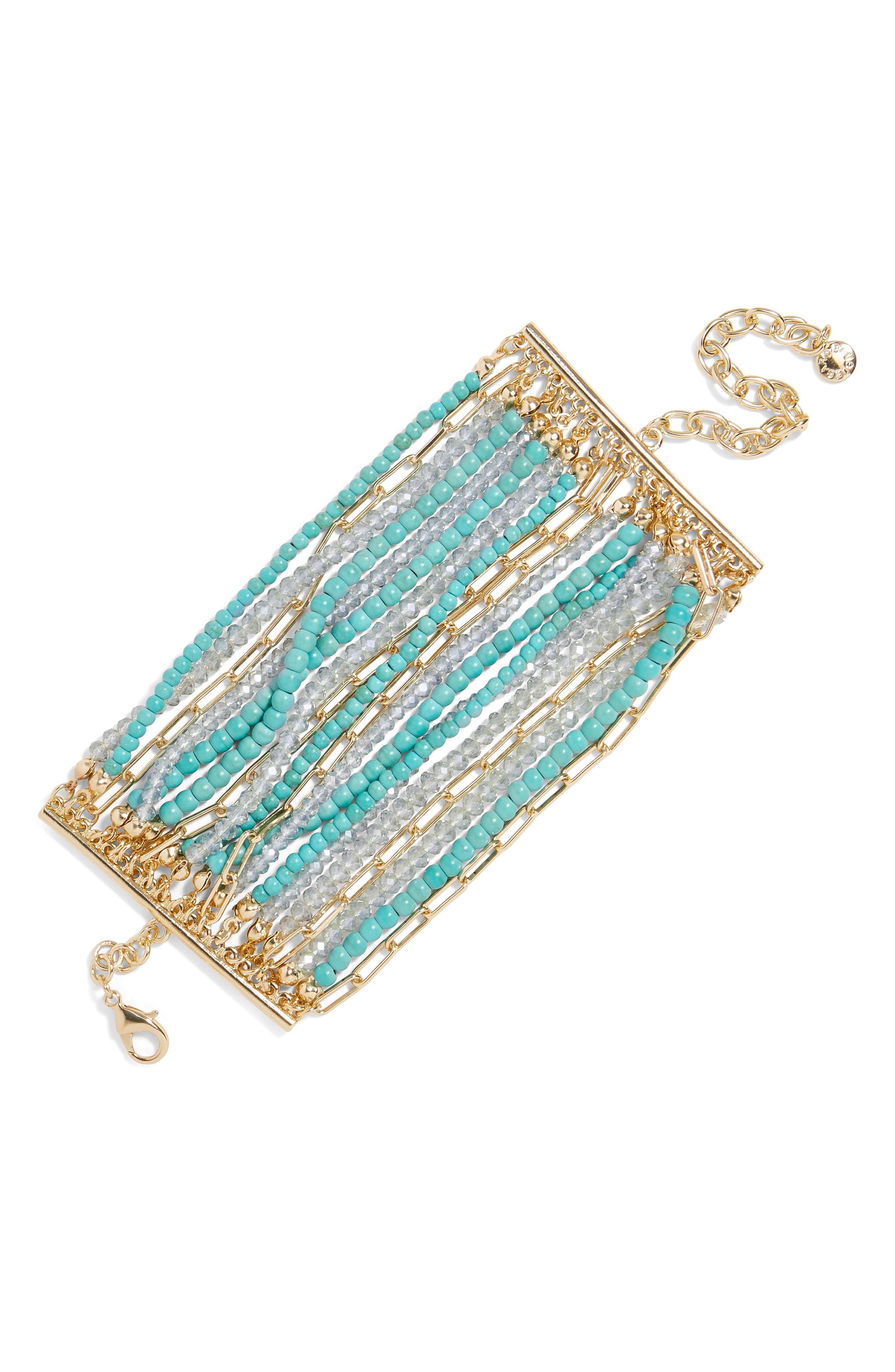 Kamira Beaded Bracelet,                             Main thumbnail 1, color,                             TURQUOISE