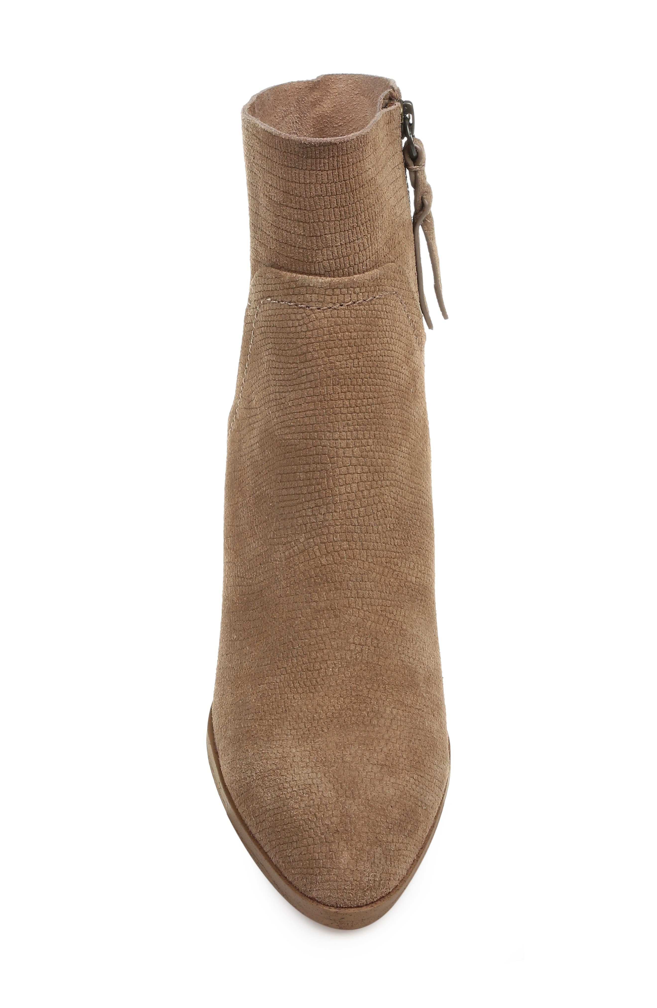Cherie Bootie,                             Alternate thumbnail 4, color,                             OAT EMBOSSED SUEDE