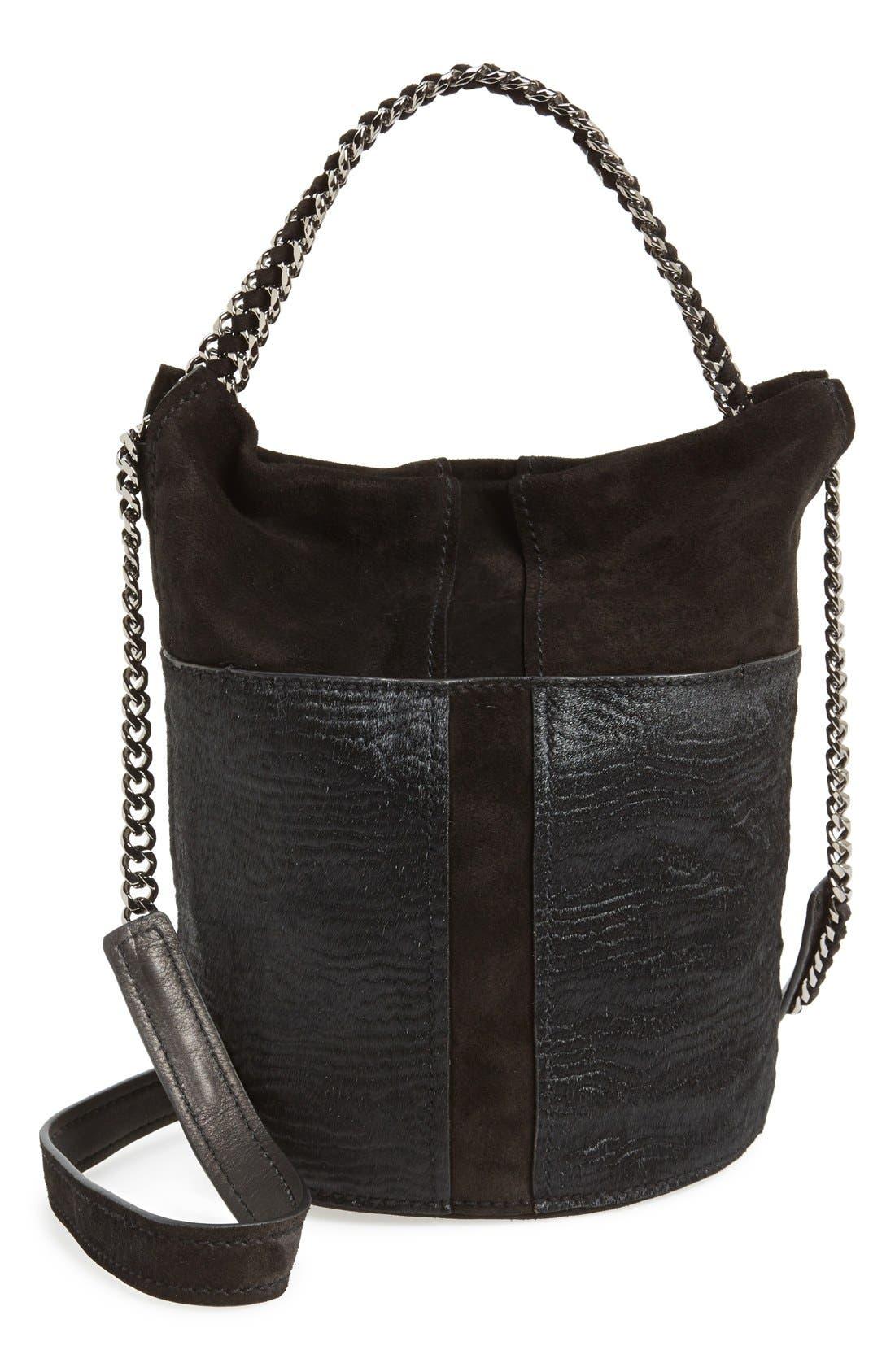 'Blake' Genuine Calf Hair & Suede Bucket Bag,                             Main thumbnail 1, color,                             001