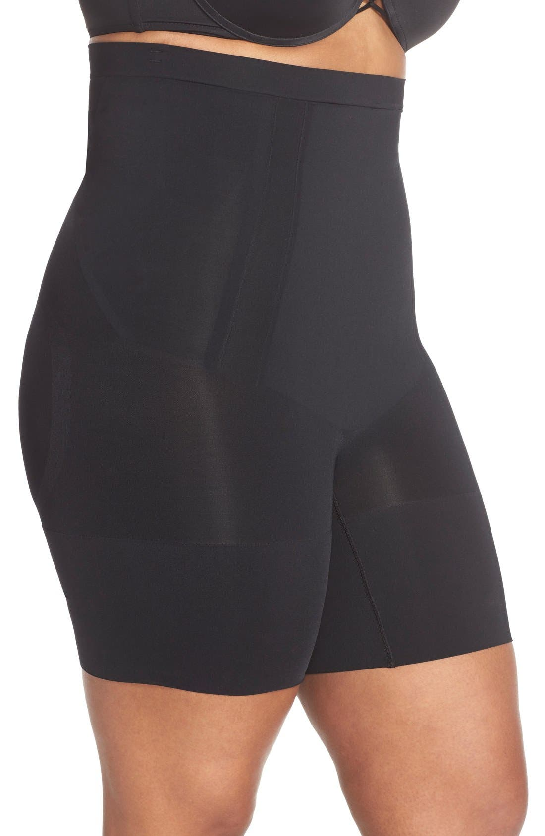 OnCore High Waist Mid-Thigh Shorts,                             Alternate thumbnail 3, color,                             VERY BLACK