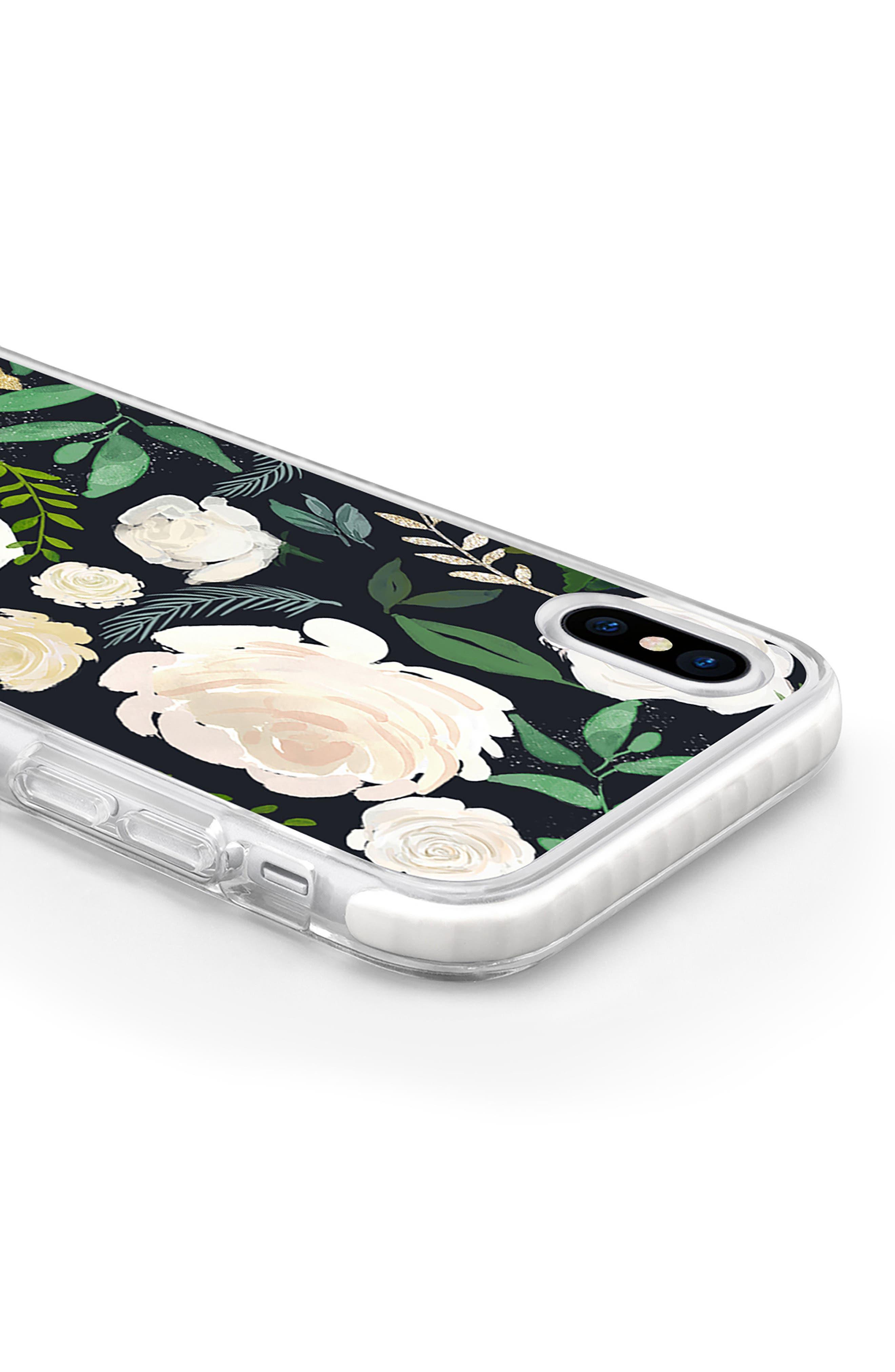 Black & Gold Floral iPhone X & Xs Case,                             Alternate thumbnail 4, color,
