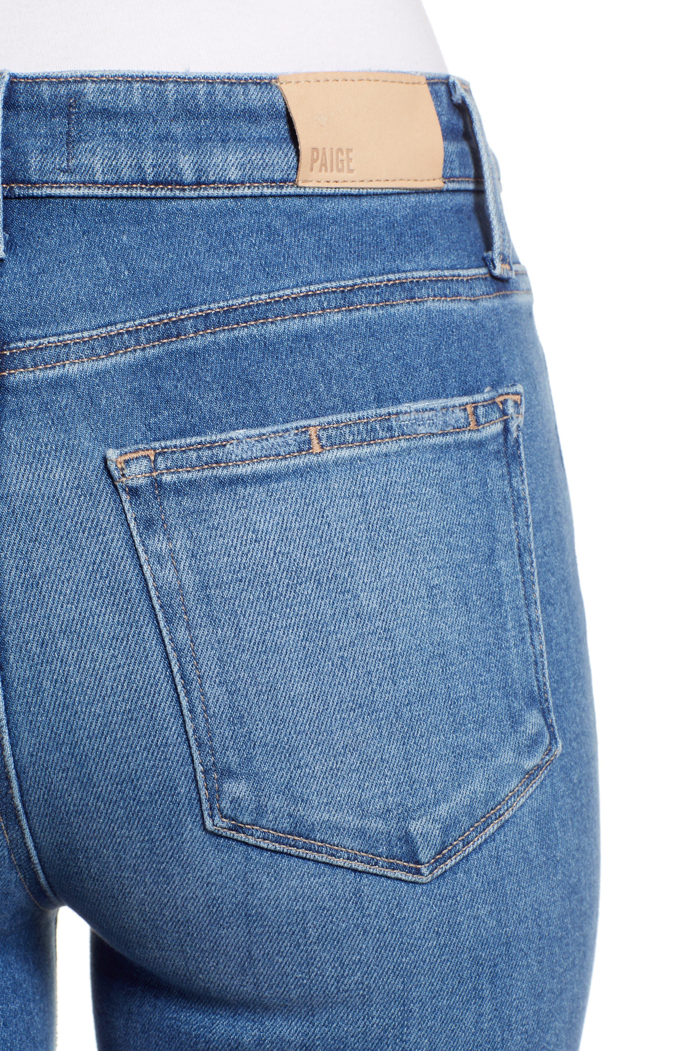 Vintage - Hoxton High Waist Raw Hem Straight Leg Jeans,                             Alternate thumbnail 4, color,                             RENZO DISTRESSED