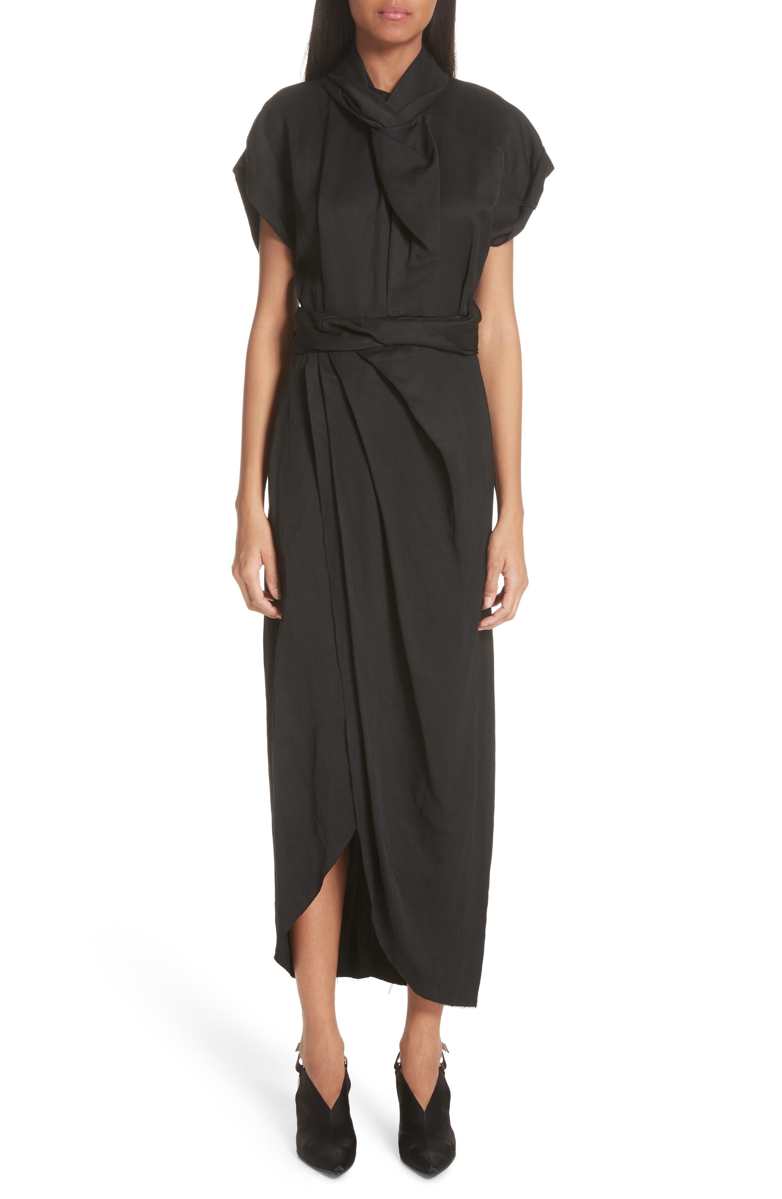 Split Front Gathered Sheath Dress,                             Main thumbnail 1, color,                             001