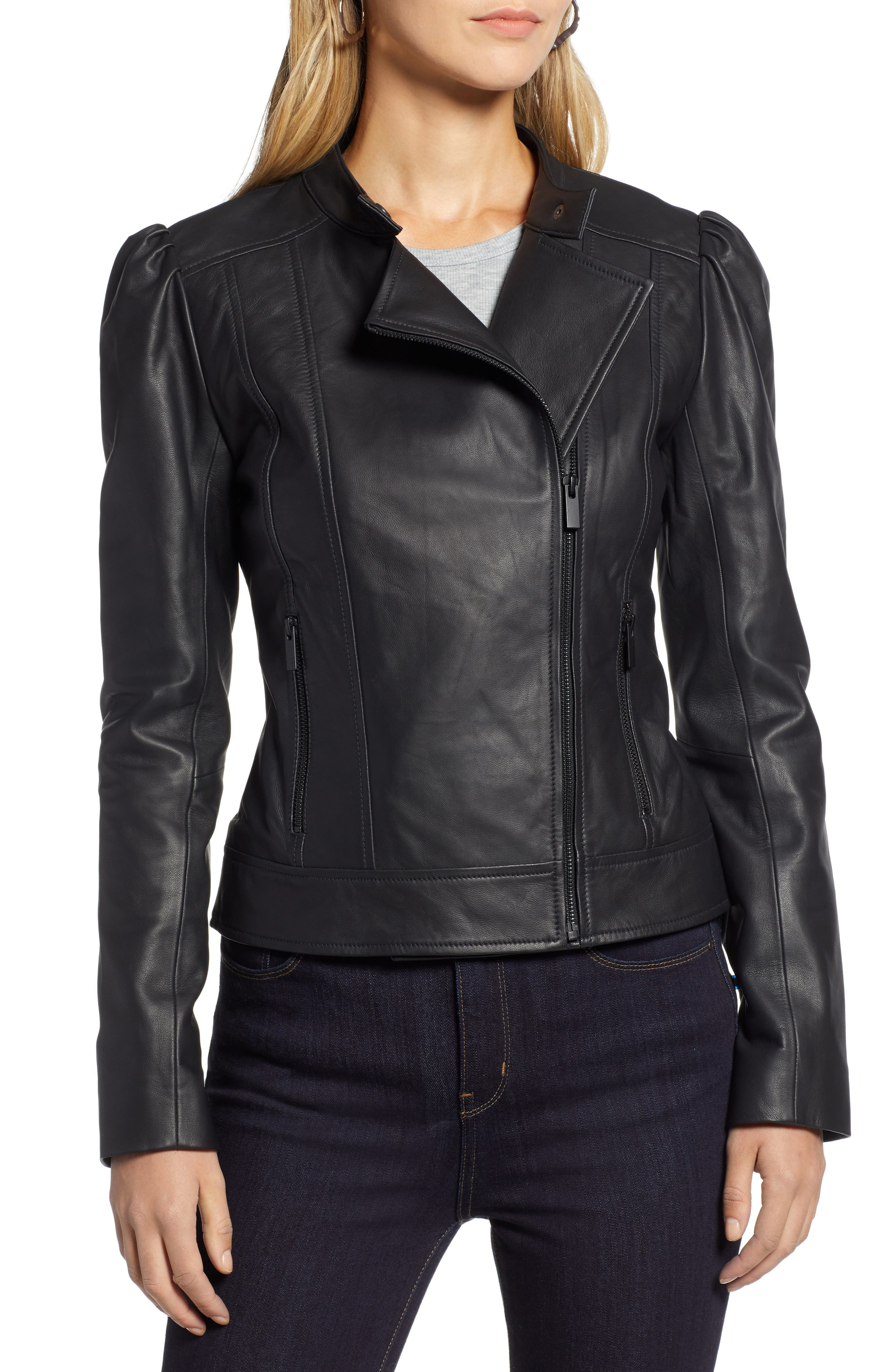 HALOGEN<SUP>®</SUP>,                             Leather Jacket,                             Alternate thumbnail 4, color,                             001