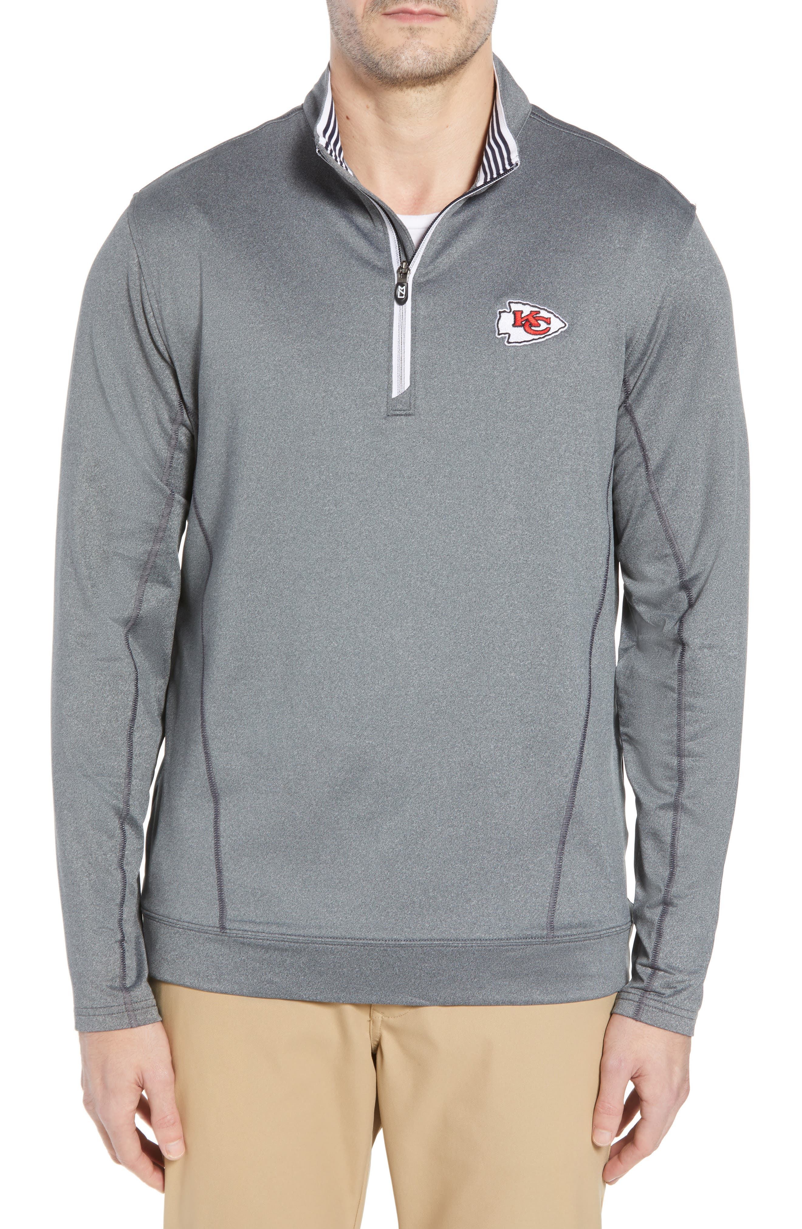 Endurance Kansas City Chiefs Regular Fit Pullover,                         Main,                         color, CHARCOAL HEATHER