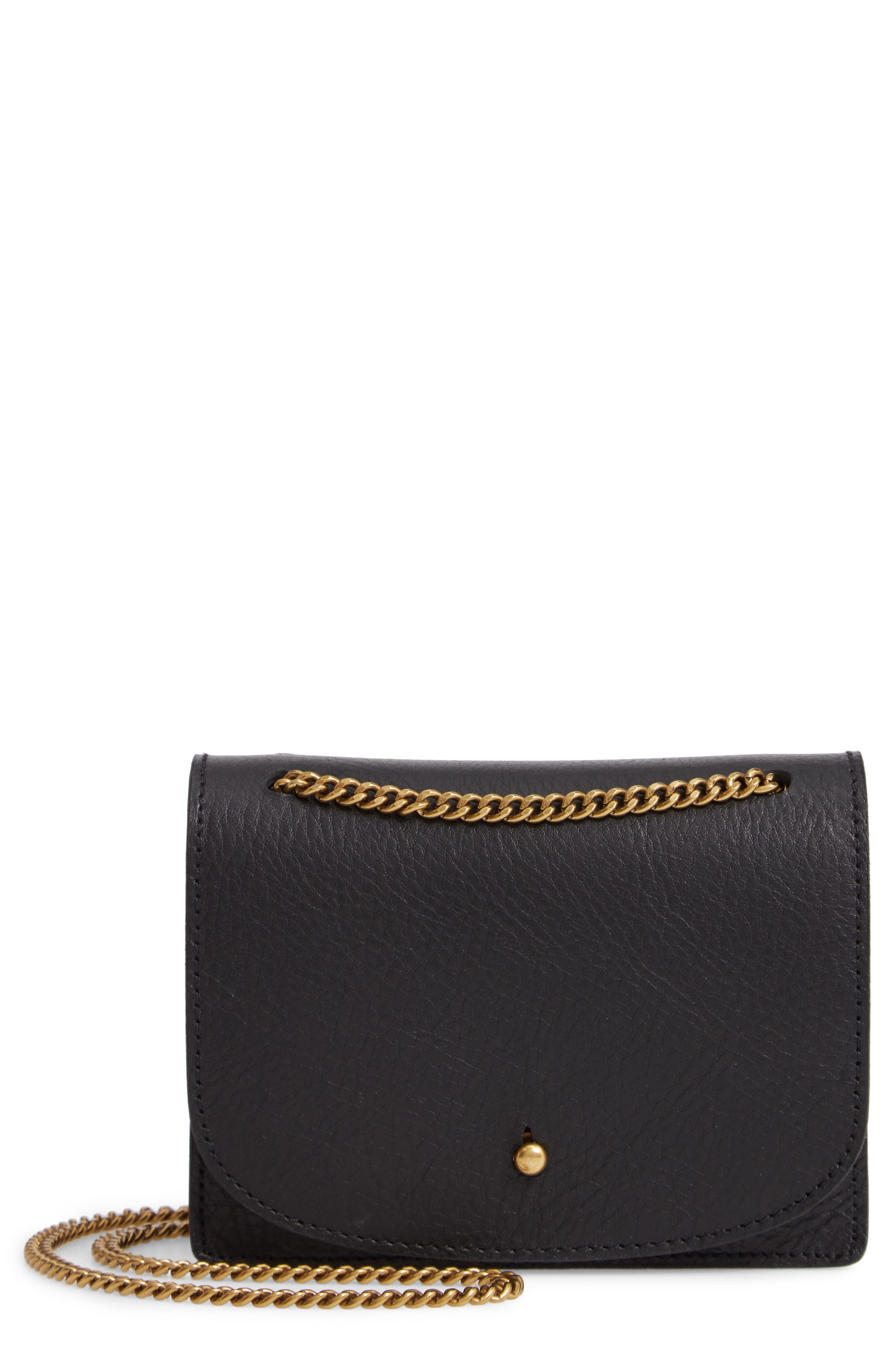 Leather Crossbody Wallet,                         Main,                         color, TRUE BLACK