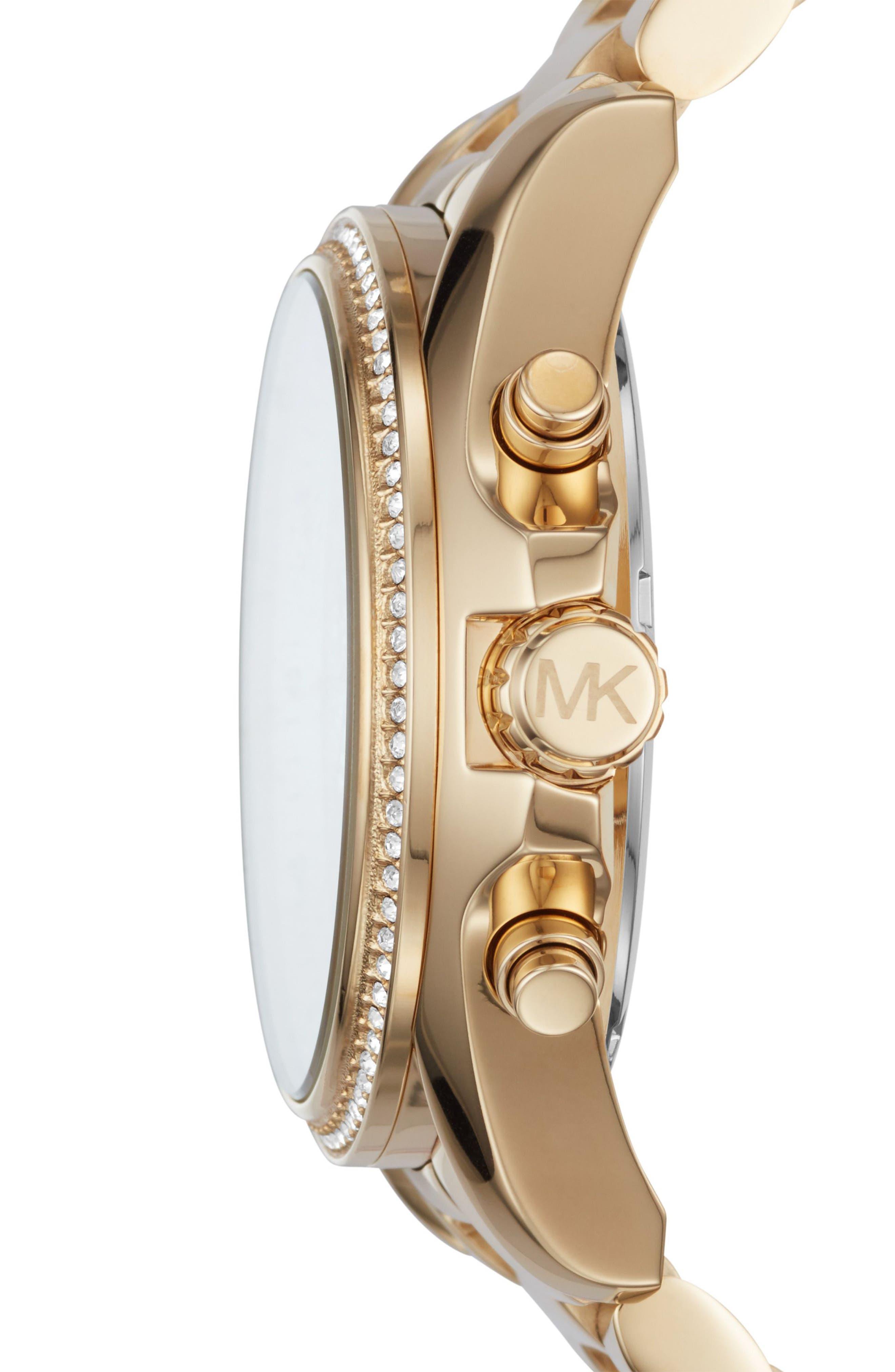 Bradshaw Crystal Pavé Chronograph Bracelet Watch, 43mm,                             Alternate thumbnail 4, color,
