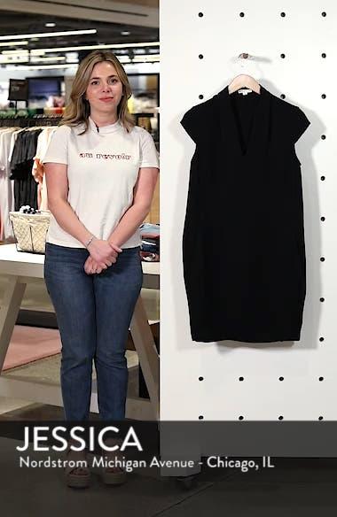 Paige V-Neck Crepe Shift Dress, sales video thumbnail