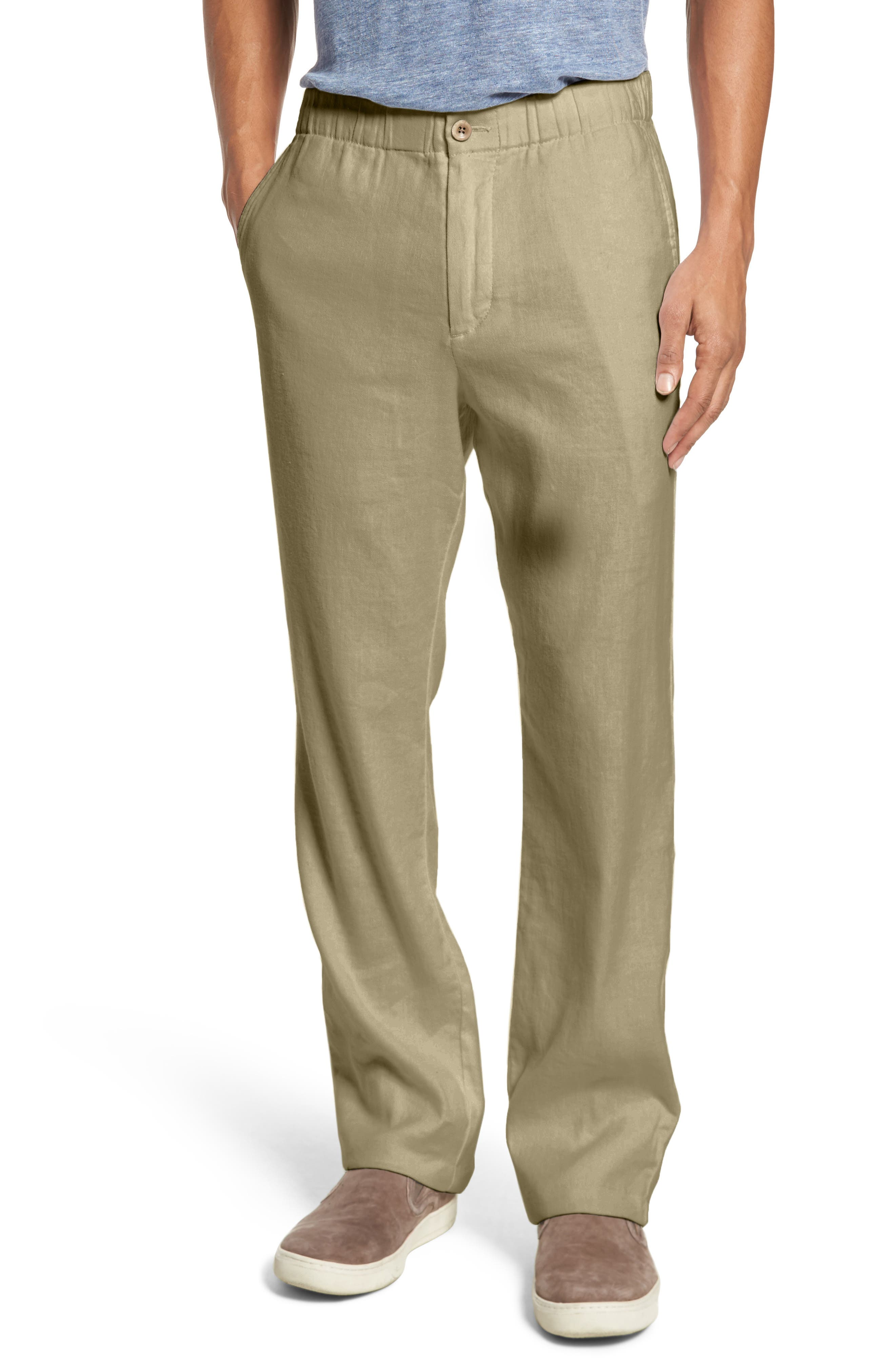 Relaxed Linen Pants,                         Main,                         color, STONE KHAKI