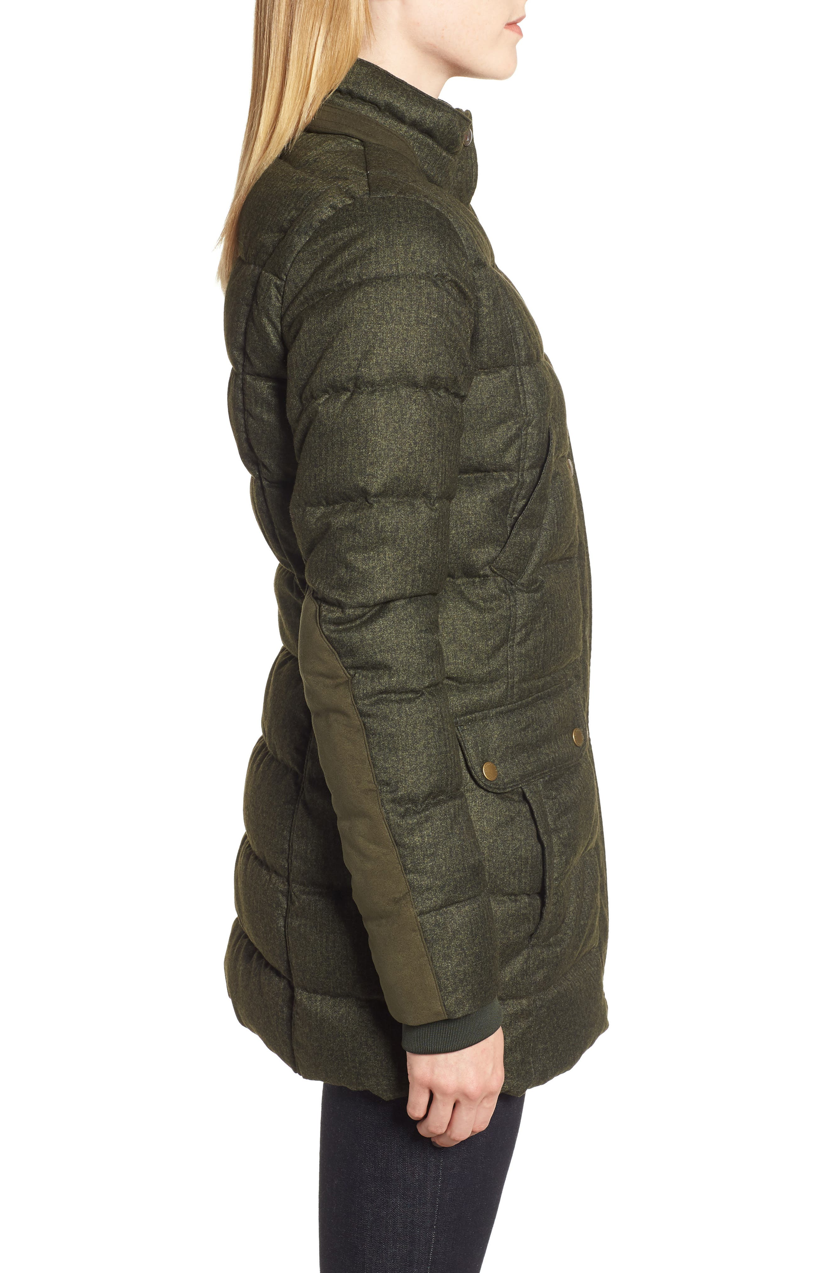 Goldfinch Quilted Jacket,                             Alternate thumbnail 3, color,                             OLIVE