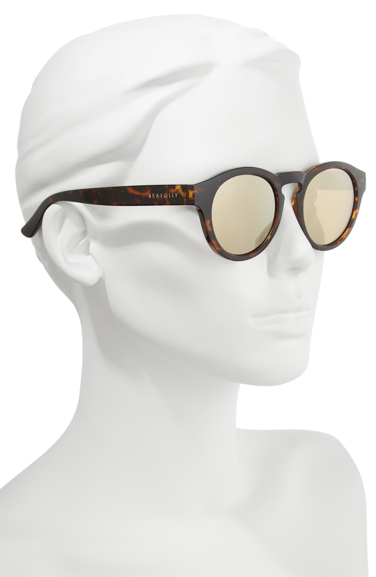 Whitehaven 49mm Round Lens Polarized Sunglasses,                             Alternate thumbnail 2, color,                             DARK TORT