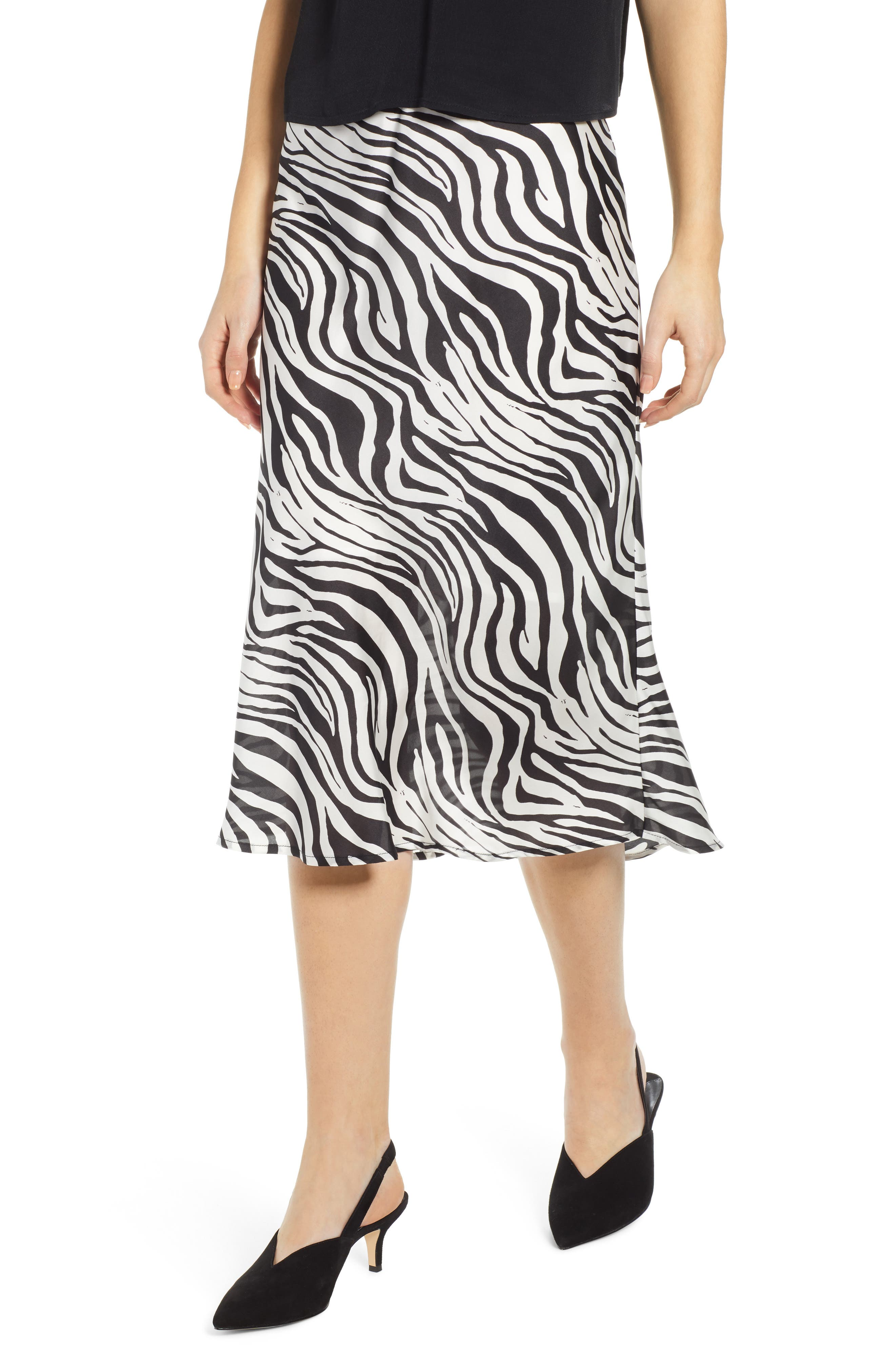 Leith Satin Midi Skirt, Ivory
