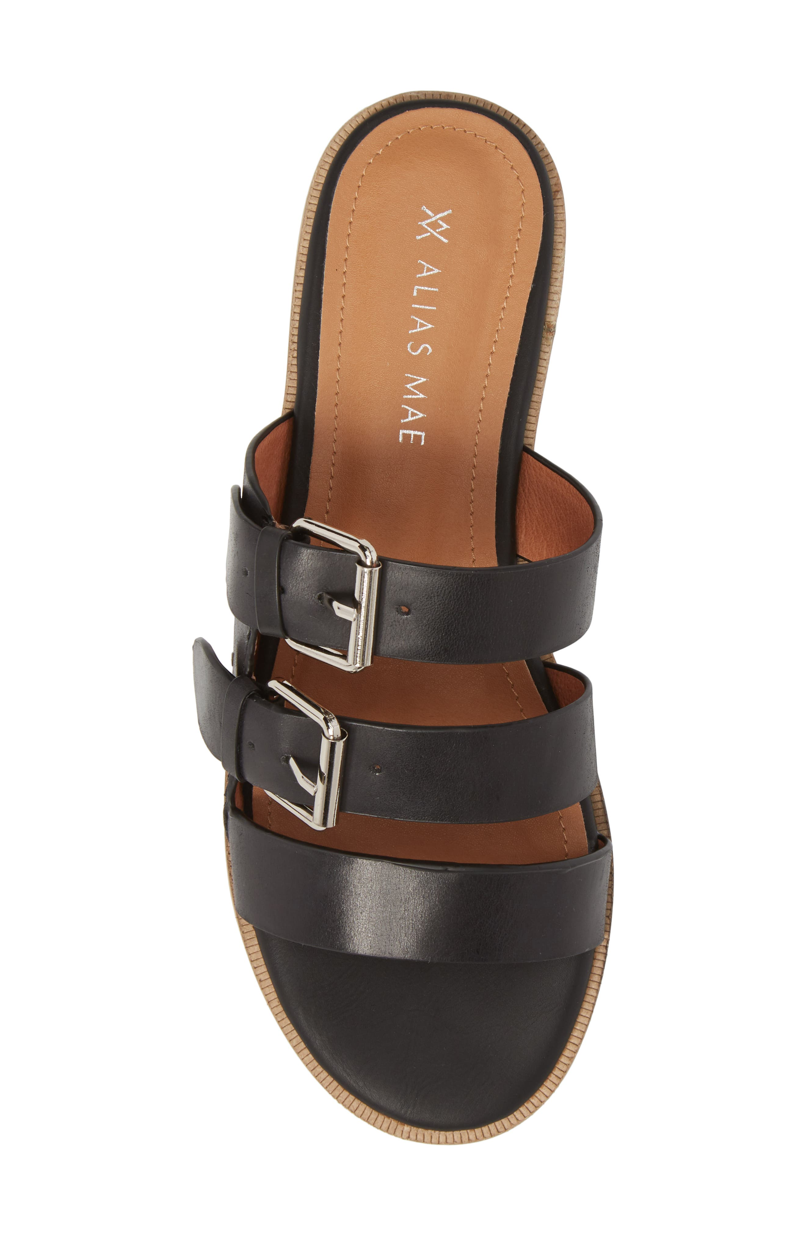 Theatre Buckled Slide Sandal,                             Alternate thumbnail 5, color,                             BLACK LEATHER