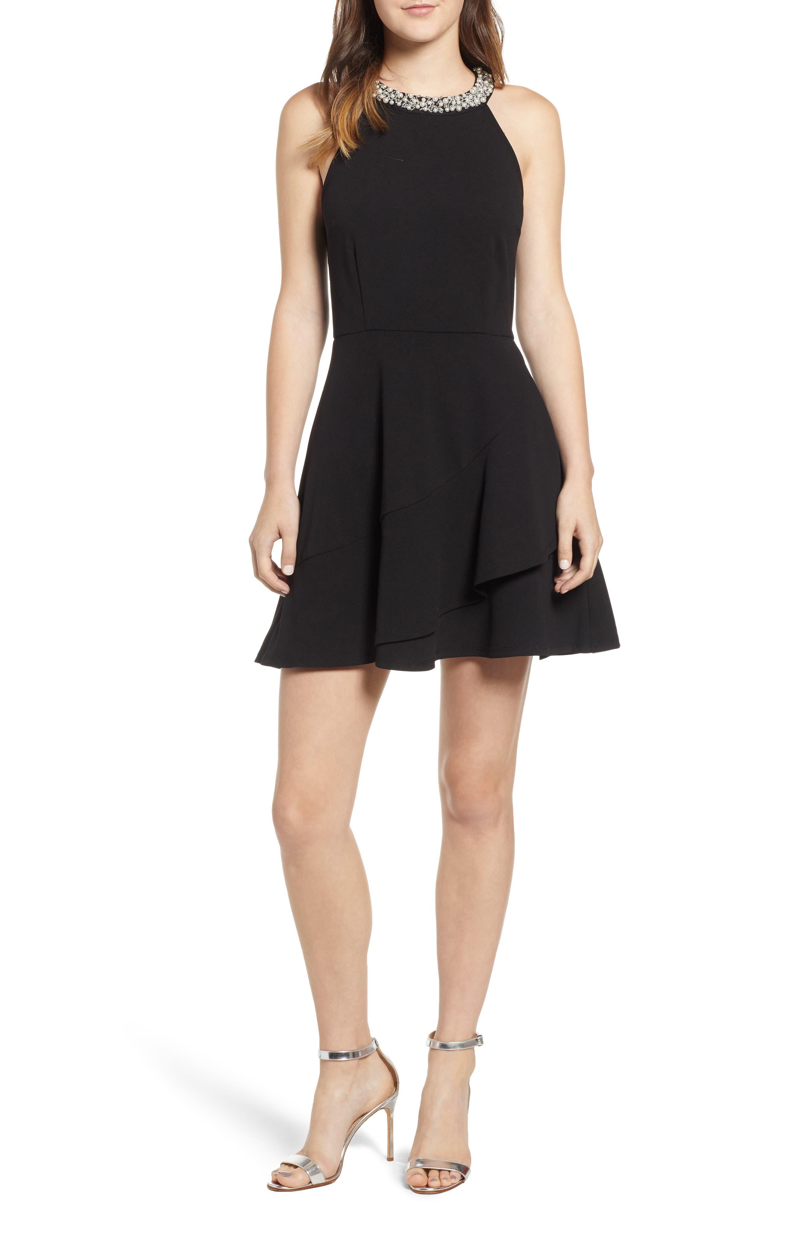 Pearl Neck Scuba Crepe Skater Dress,                         Main,                         color, 001