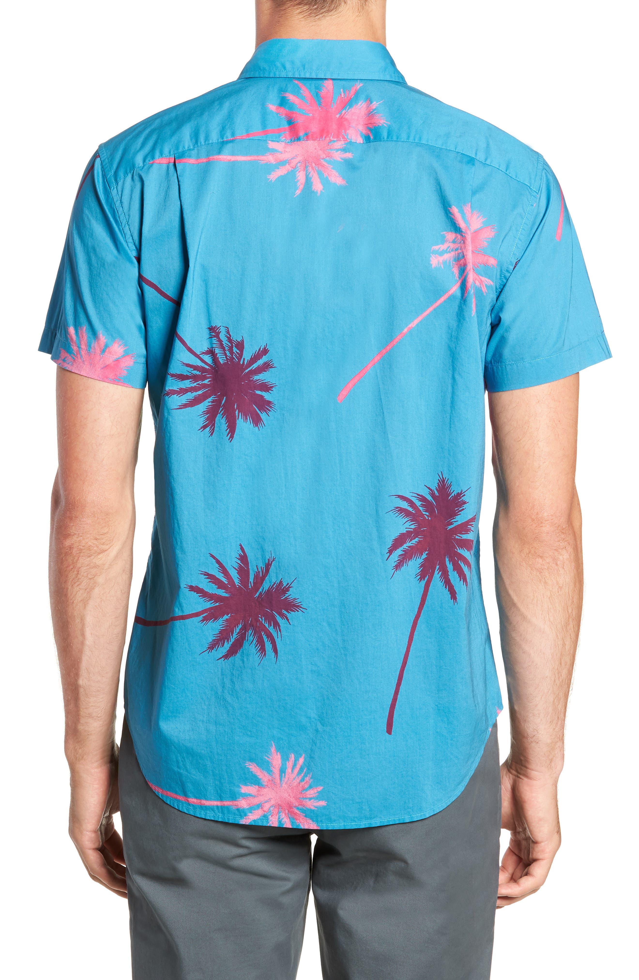 Slim Fit Palm Tree Sport Shirt,                             Alternate thumbnail 2, color,                             400