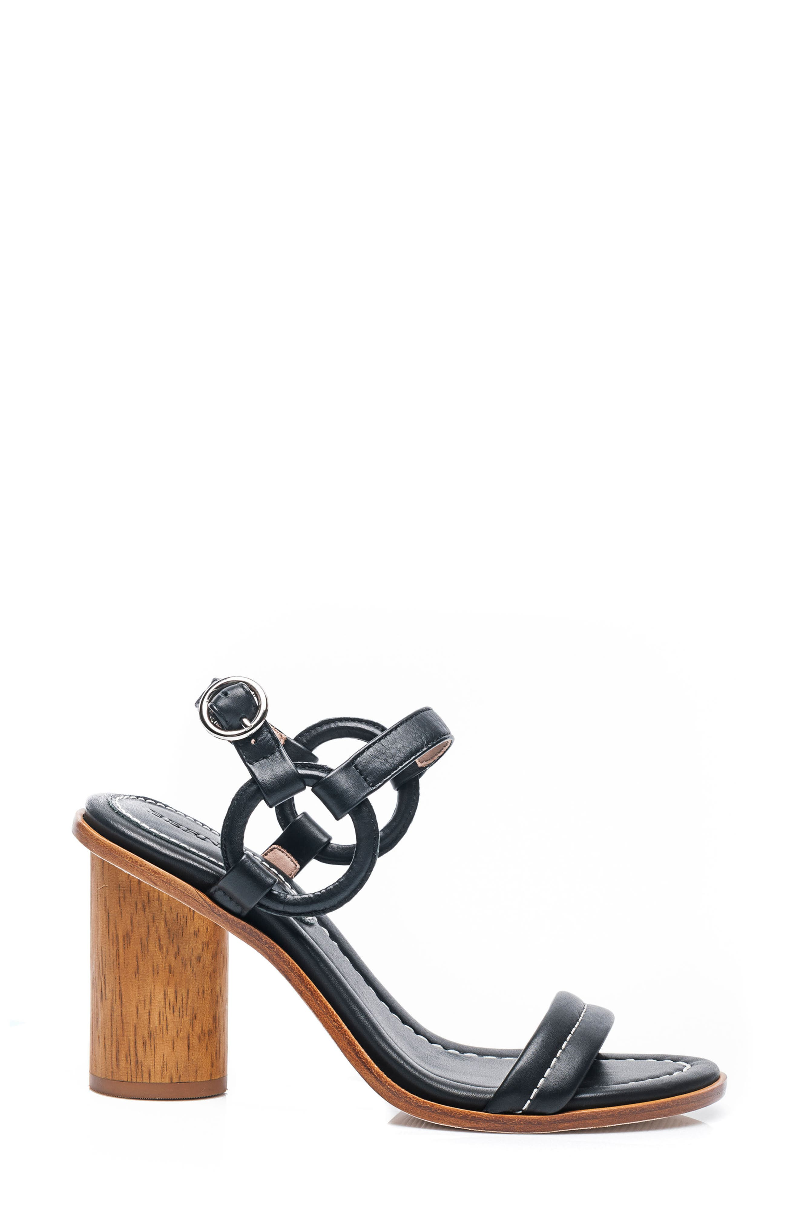 Bernardo Harlow Ankle Strap Sandal,                             Alternate thumbnail 3, color,                             BLACK LEATHER