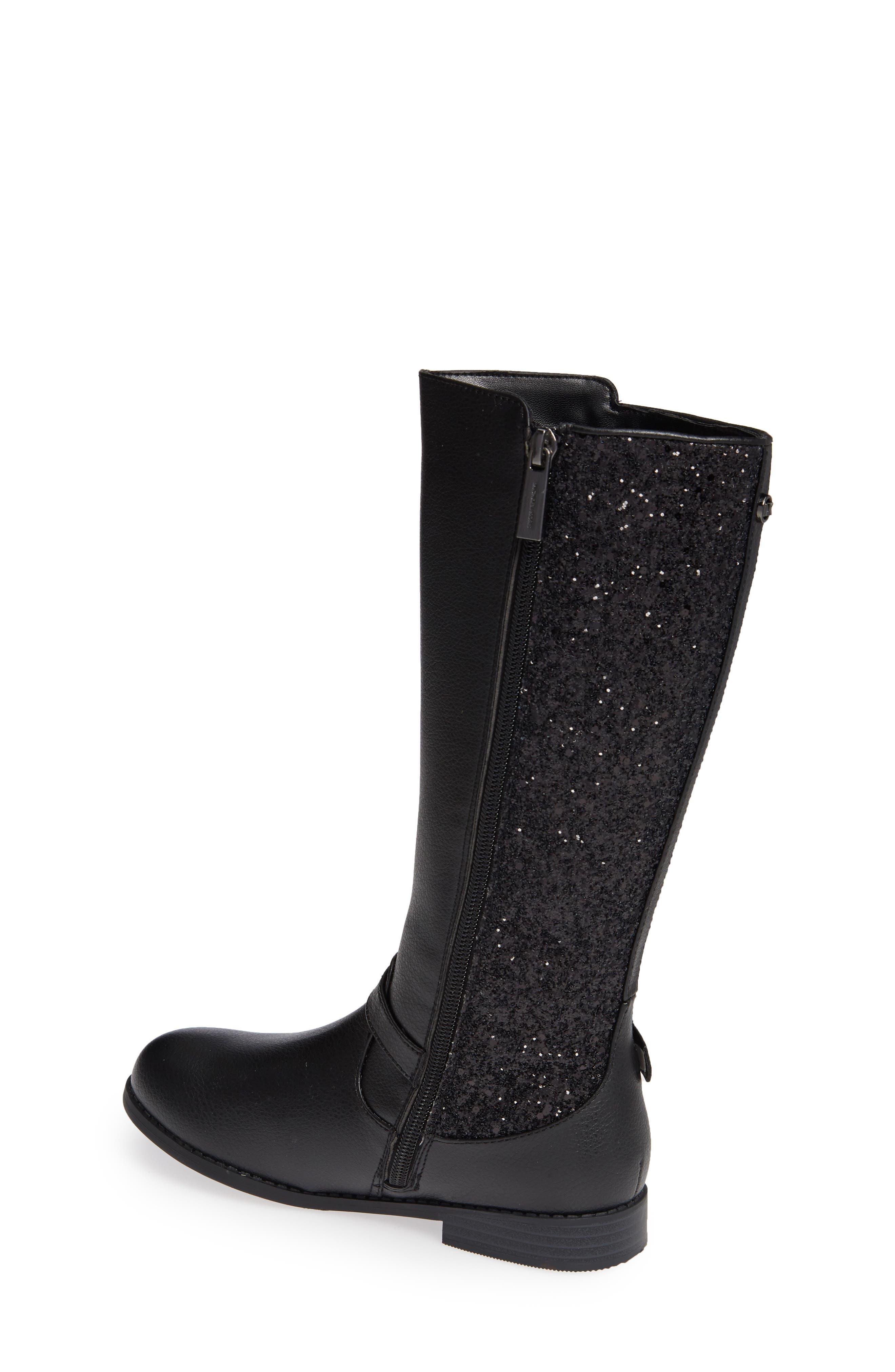 Emma Quinn Faux Leather Glitter Riding Boot,                             Alternate thumbnail 2, color,                             BLACK