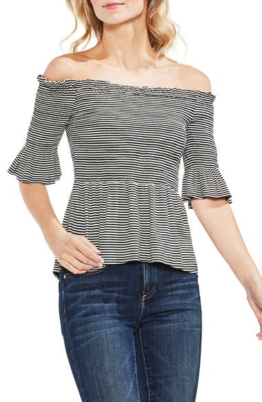 cb9b6001d89a8 Vince Camuto Off The Shoulder Striped Top