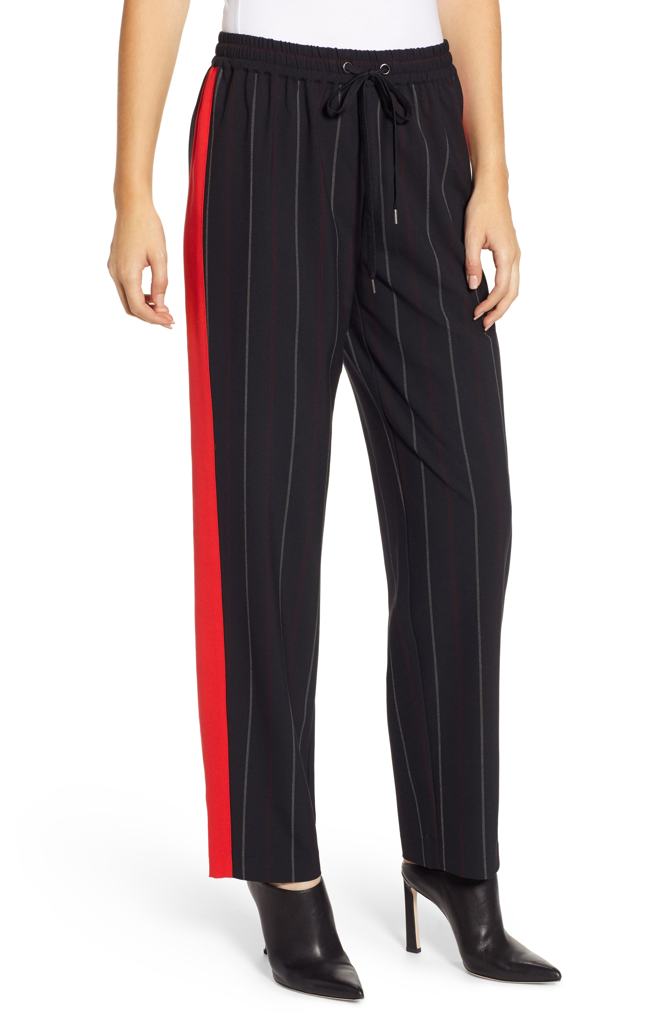 Wide Leg Track Pants,                             Main thumbnail 1, color,                             BLACK SHIRLIE STRIPE