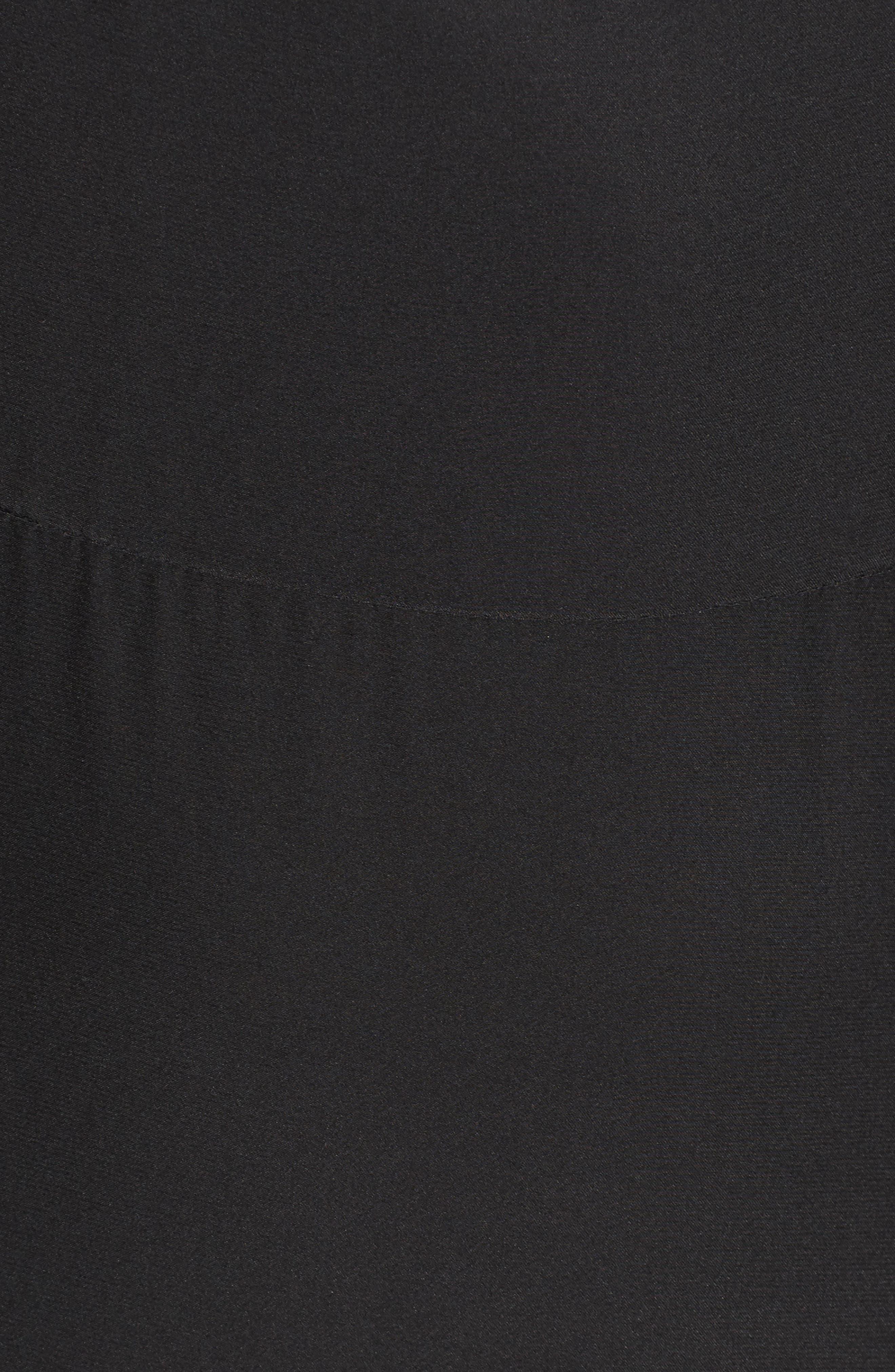 Tanya Cold Shoulder Silk Dress,                             Alternate thumbnail 5, color,                             001