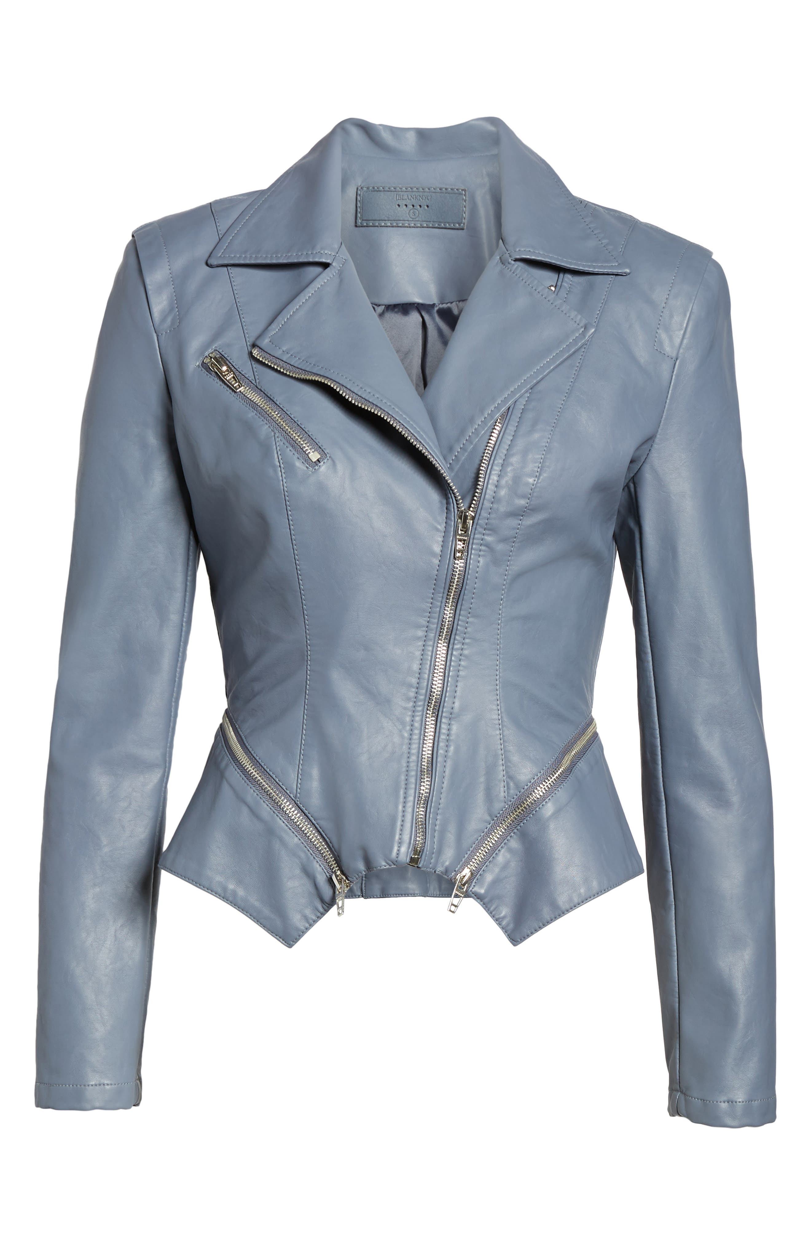 Faux Leather Moto Jacket,                             Alternate thumbnail 6, color,                             GREY GRISAILLE
