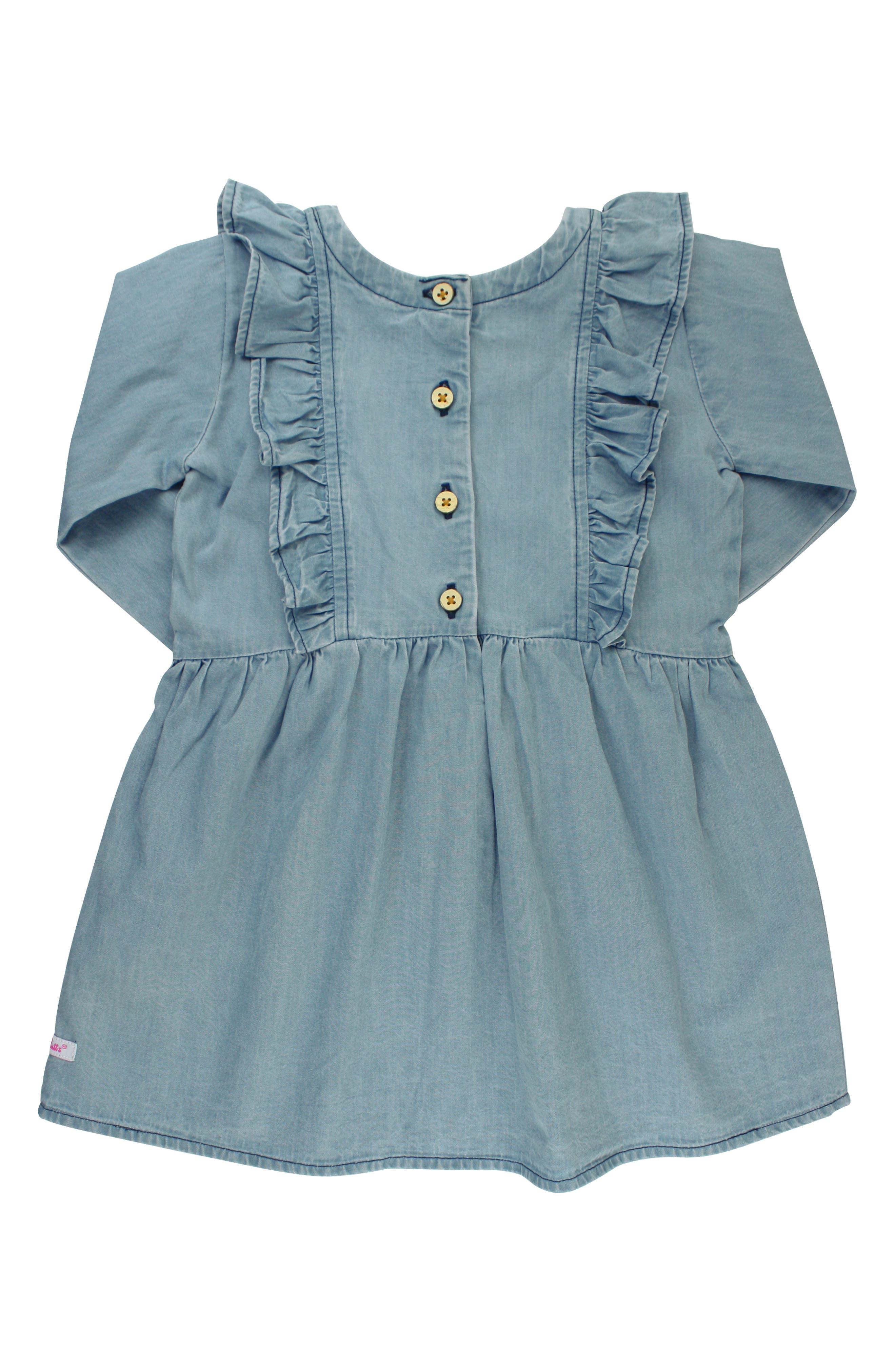 RUFFLEBUTTS,                             Cotton Chambray Dress & Headband Set,                             Alternate thumbnail 2, color,                             BLUE