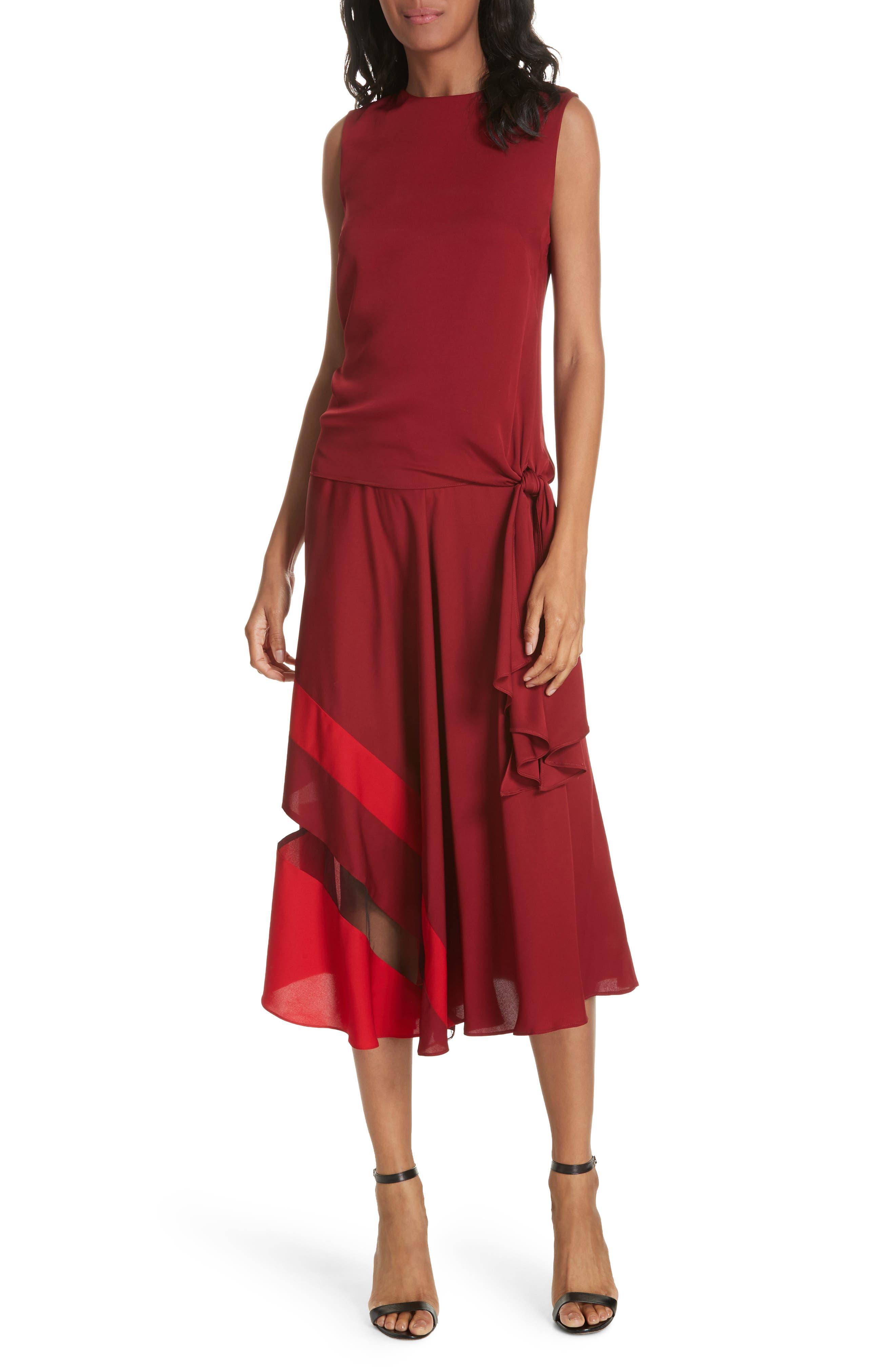 Asymmetrical Stripe Stretch Silk Midi Skirt,                             Alternate thumbnail 7, color,                             BURGUNDY/ RUBY
