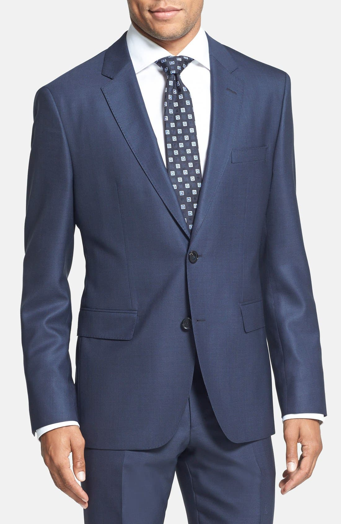 BOSS HUGO BOSS 'Johnstons/Lenon' Trim Fit Wool Suit,                             Alternate thumbnail 6, color,                             410
