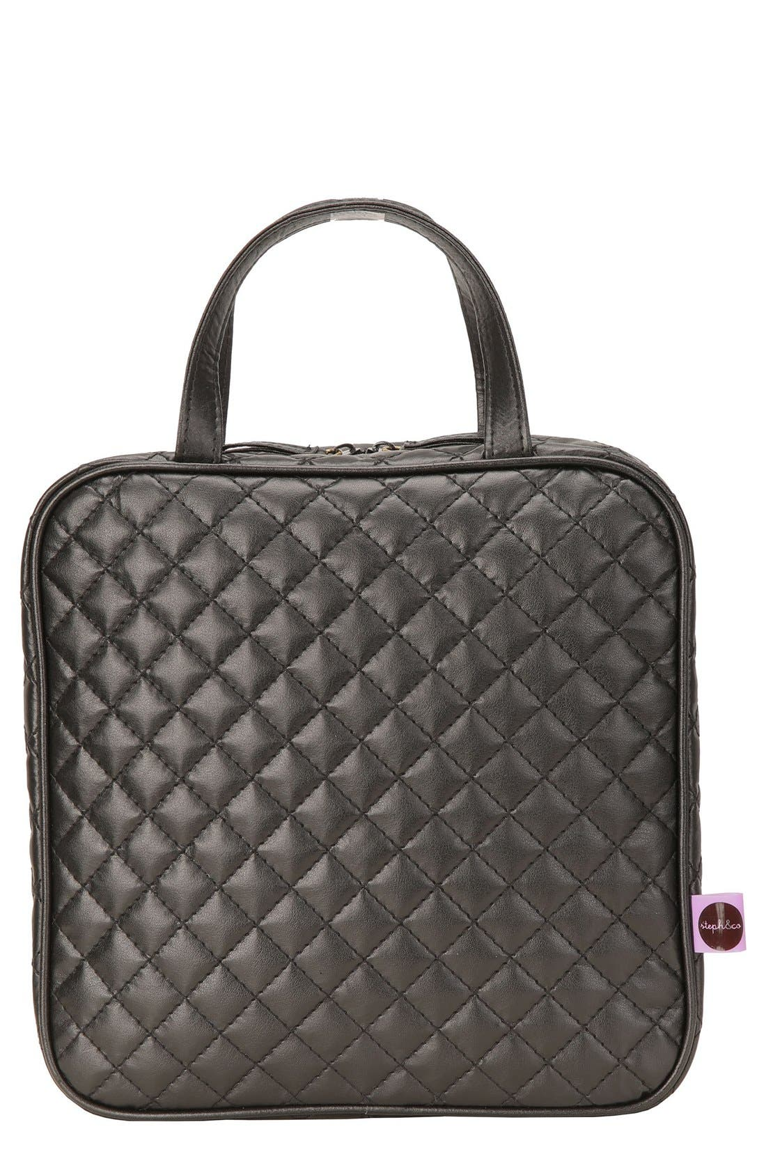 'Marissa' Black Quilted Cosmetics Case,                             Main thumbnail 1, color,                             000