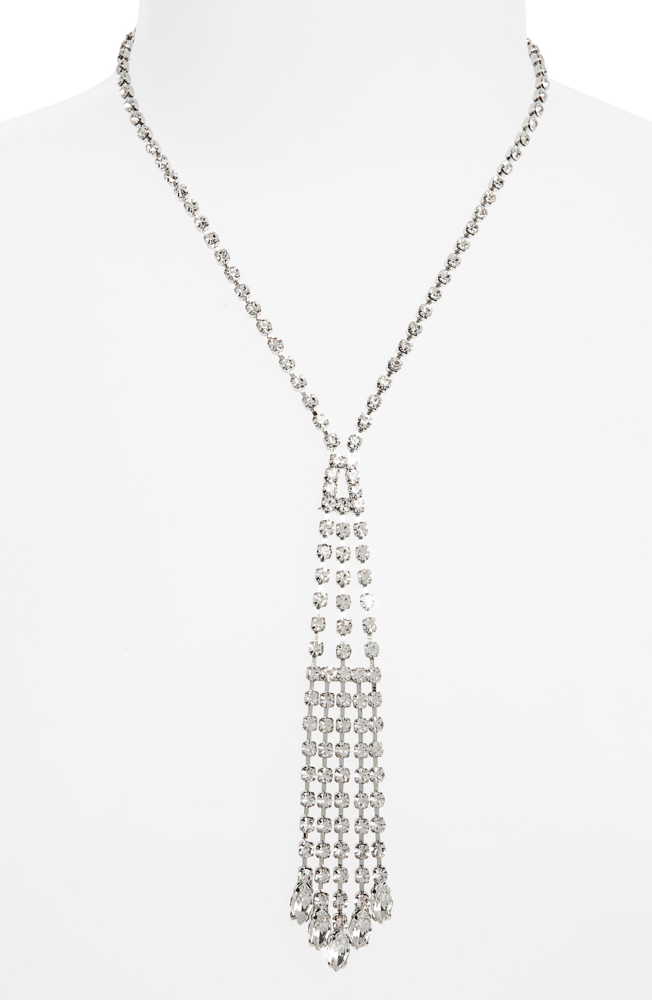 Crystal Cascade Y-Necklace,                         Main,                         color, SILVER