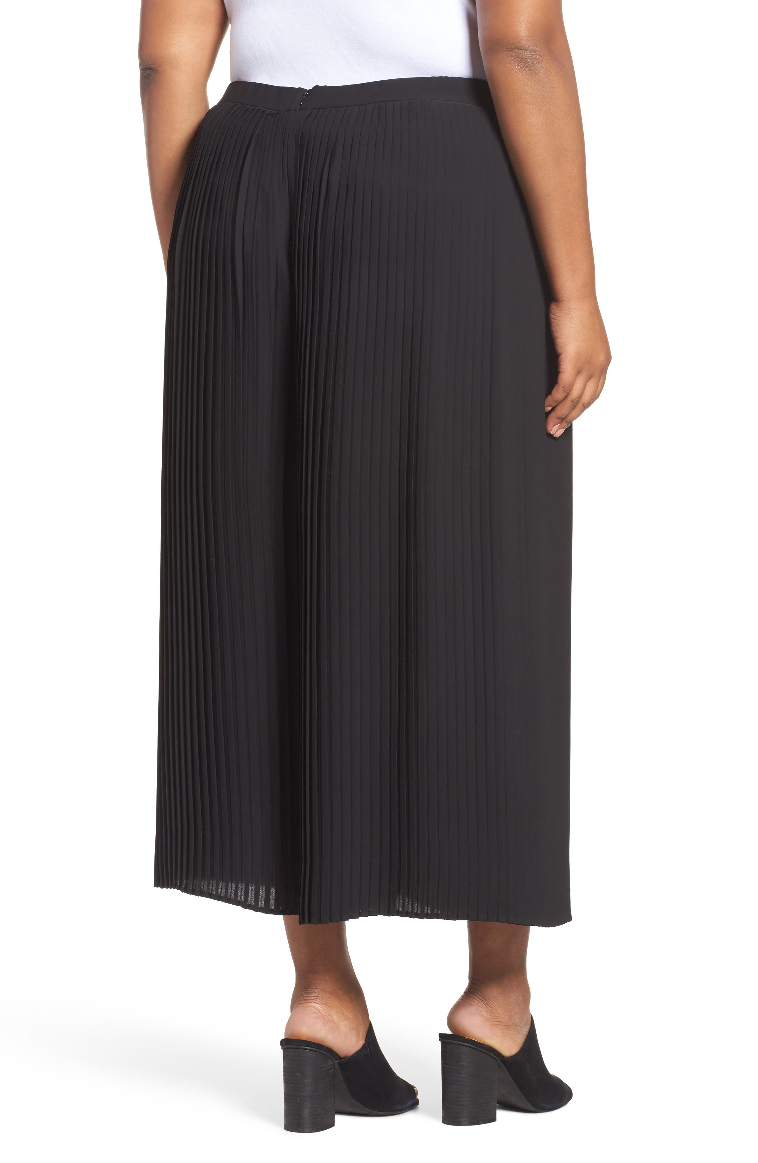 Pleat Wide Leg Ankle Pants,                             Alternate thumbnail 2, color,