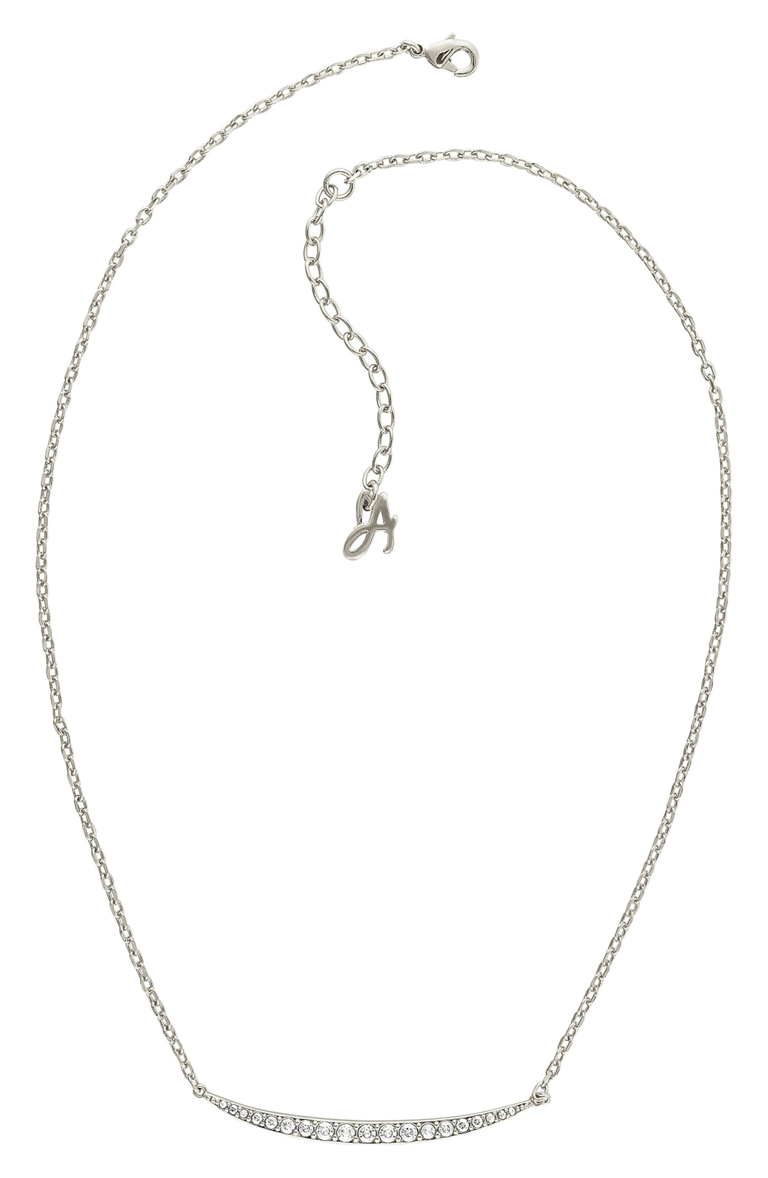 ADORÉE Curved Crystal Bar Necklace in Silver