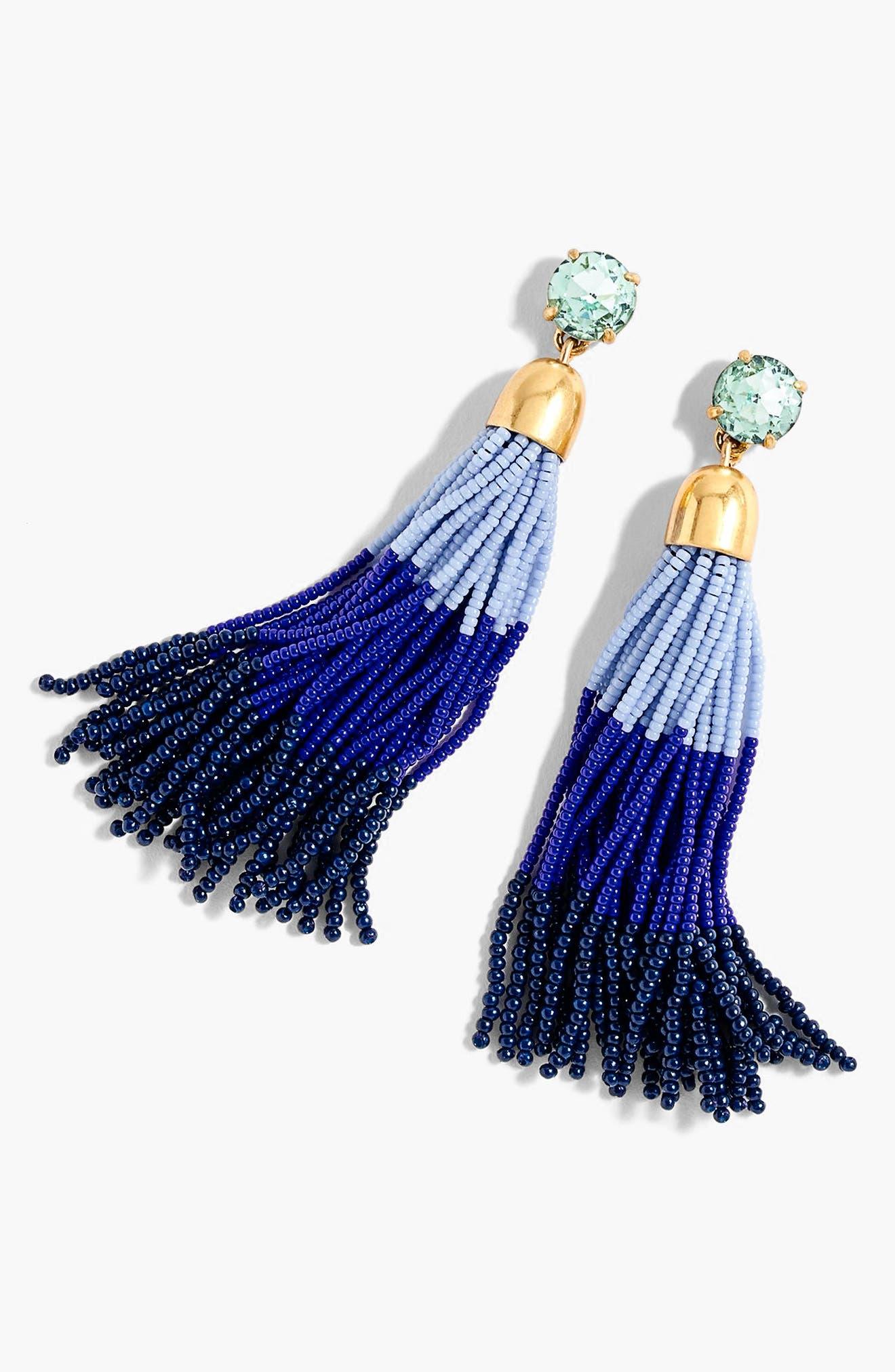 Colorblock Bead Tassel Earrings,                             Main thumbnail 1, color,                             440