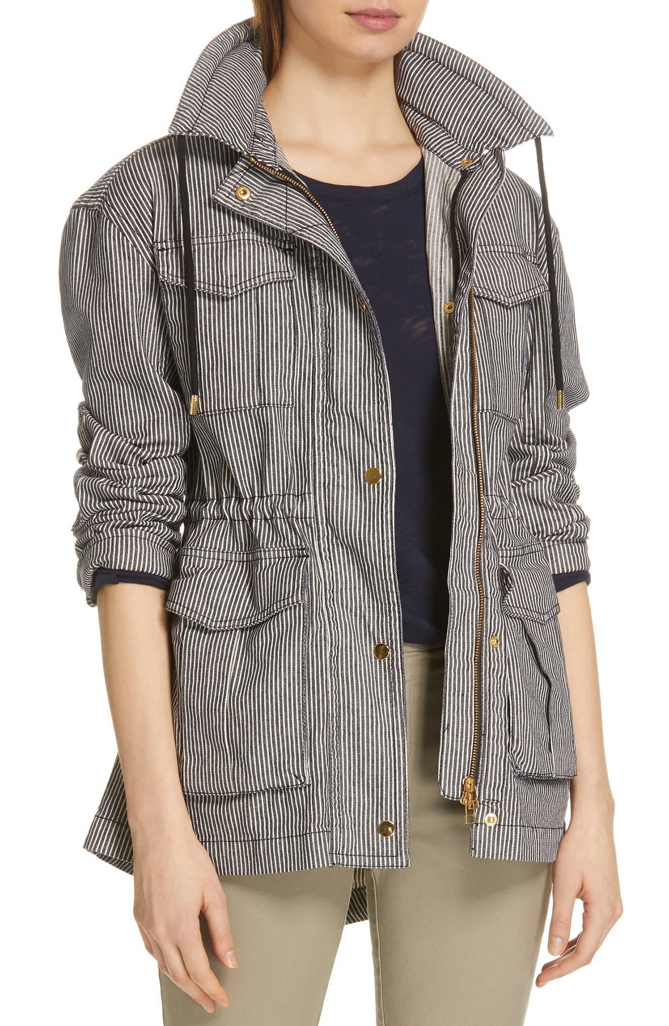 Railroad Stripe Field Jacket,                             Main thumbnail 1, color,                             INDIGO/ WHITE STRIPE