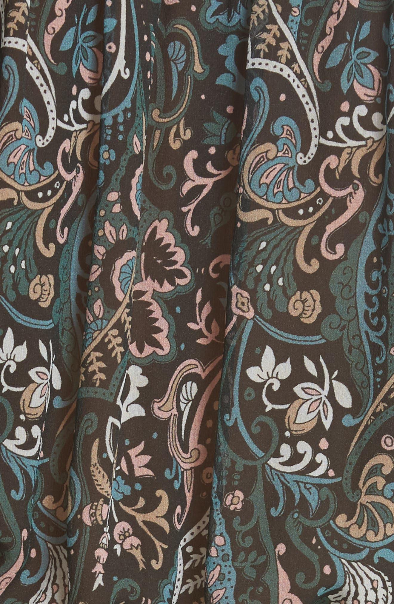 Retro Paisley Print Flounce Silk Dress,                             Alternate thumbnail 5, color,