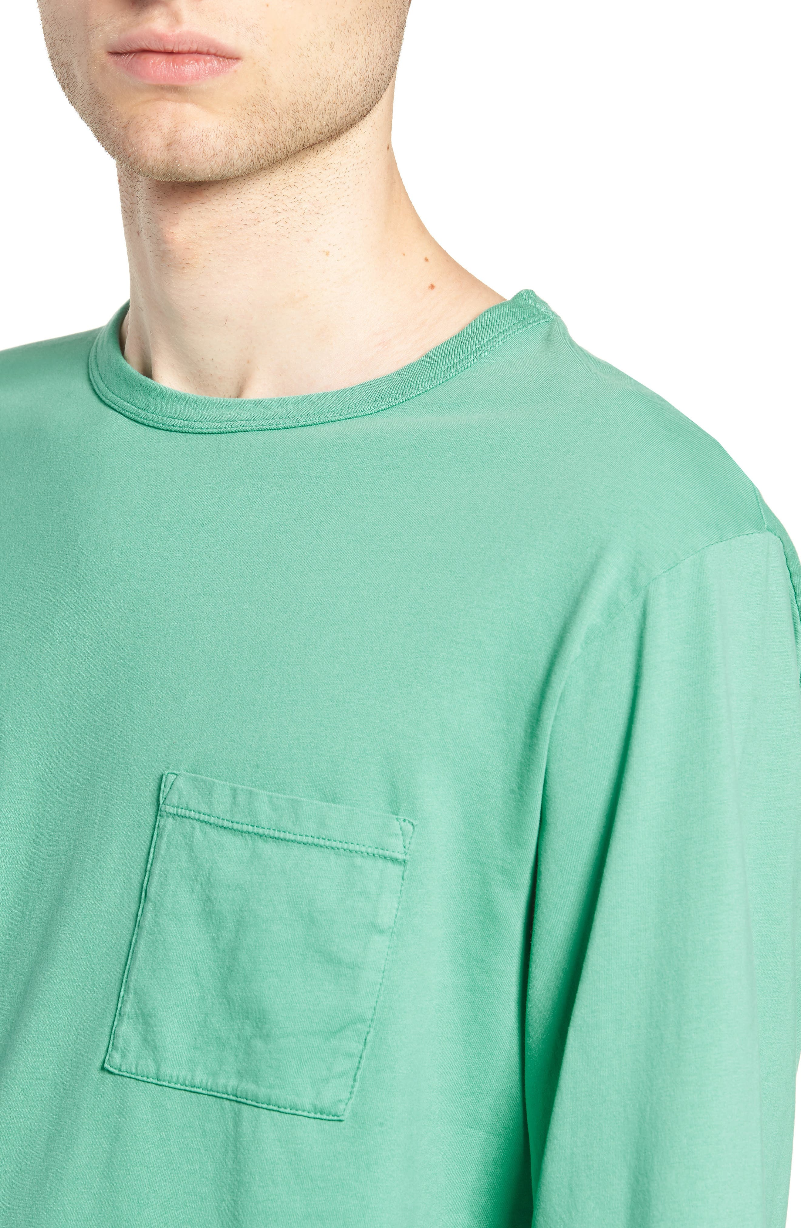 James Pima Long Sleeve Pocket T-Shirt,                             Alternate thumbnail 4, color,                             SEAFOAM GREEN