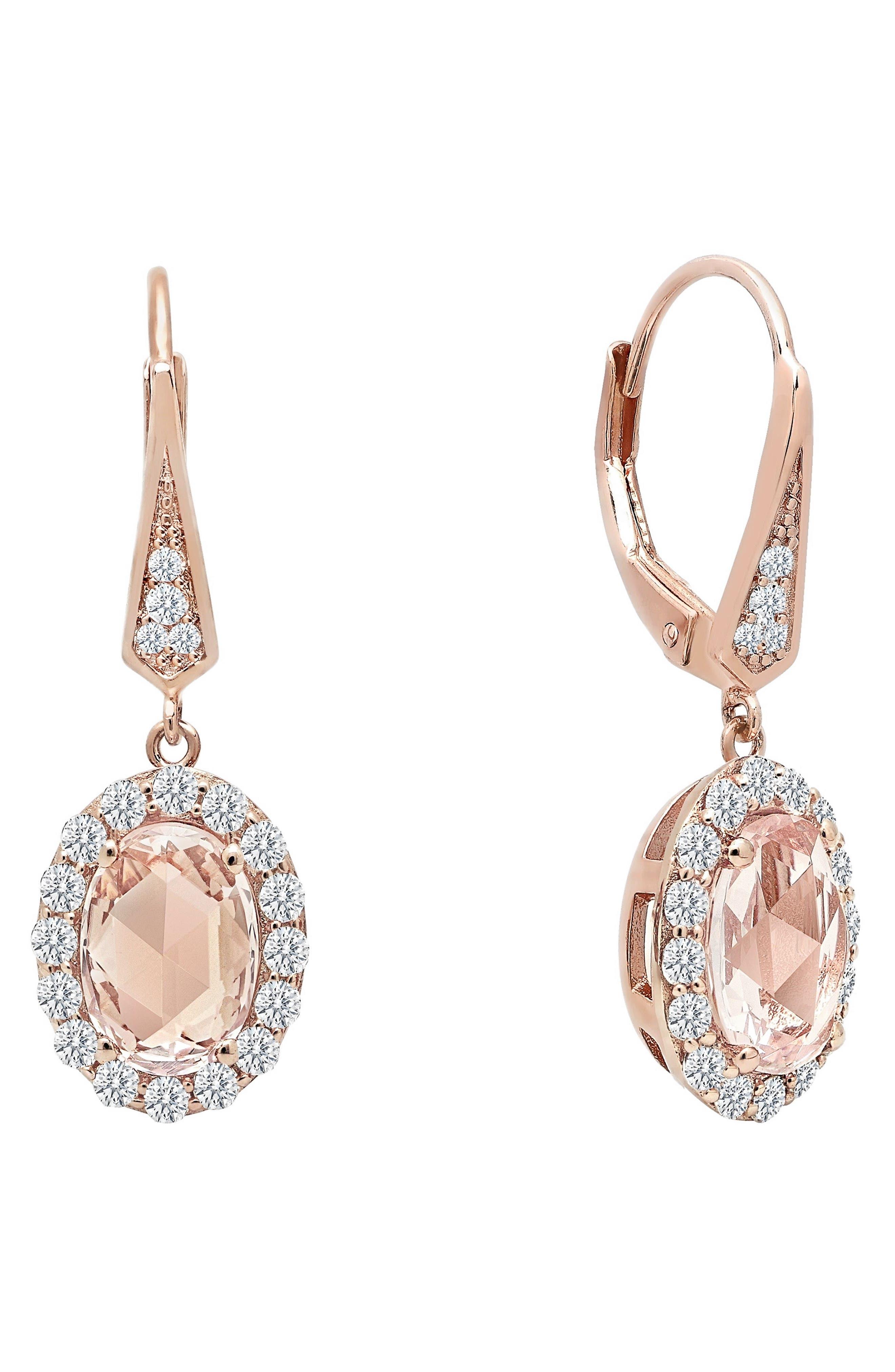 Simulated Diamond Drop Earrings,                             Main thumbnail 1, color,                             PINK / ROSE GOLD
