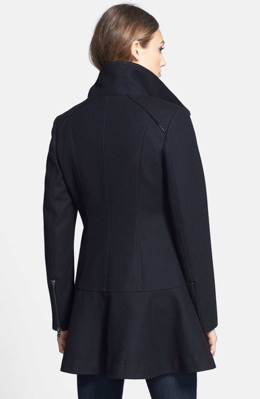 Skirted Wool Blend Coat,                             Alternate thumbnail 2, color,                             001