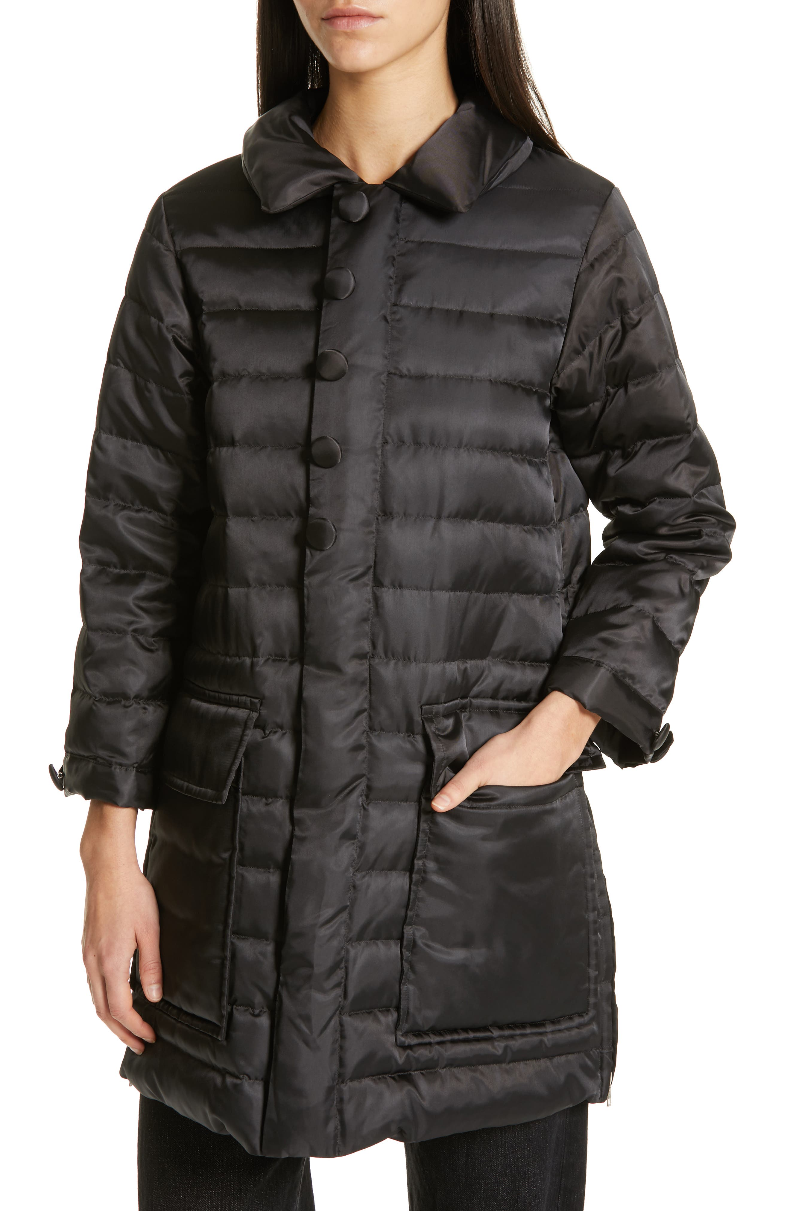 Quilted Down Coat,                             Alternate thumbnail 4, color,                             BLACK