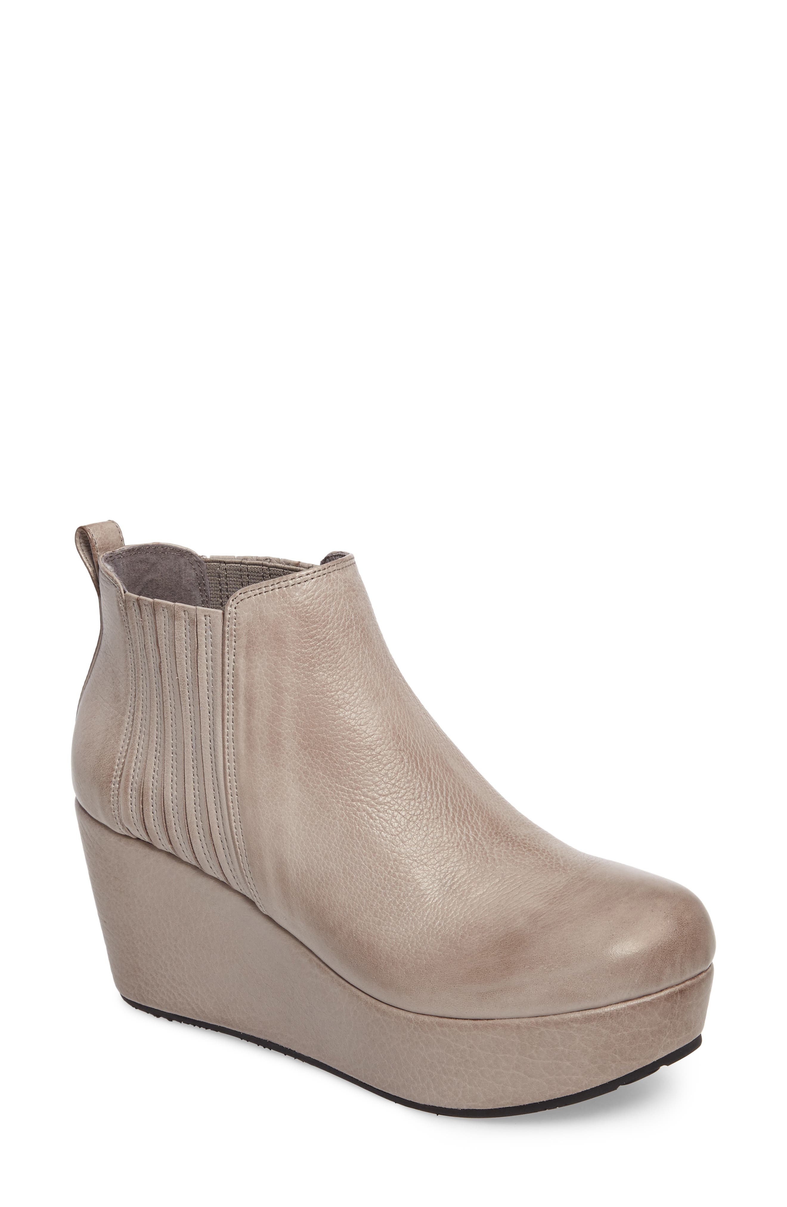 Walden Wedge Bootie,                             Main thumbnail 1, color,                             GREY LEATHER