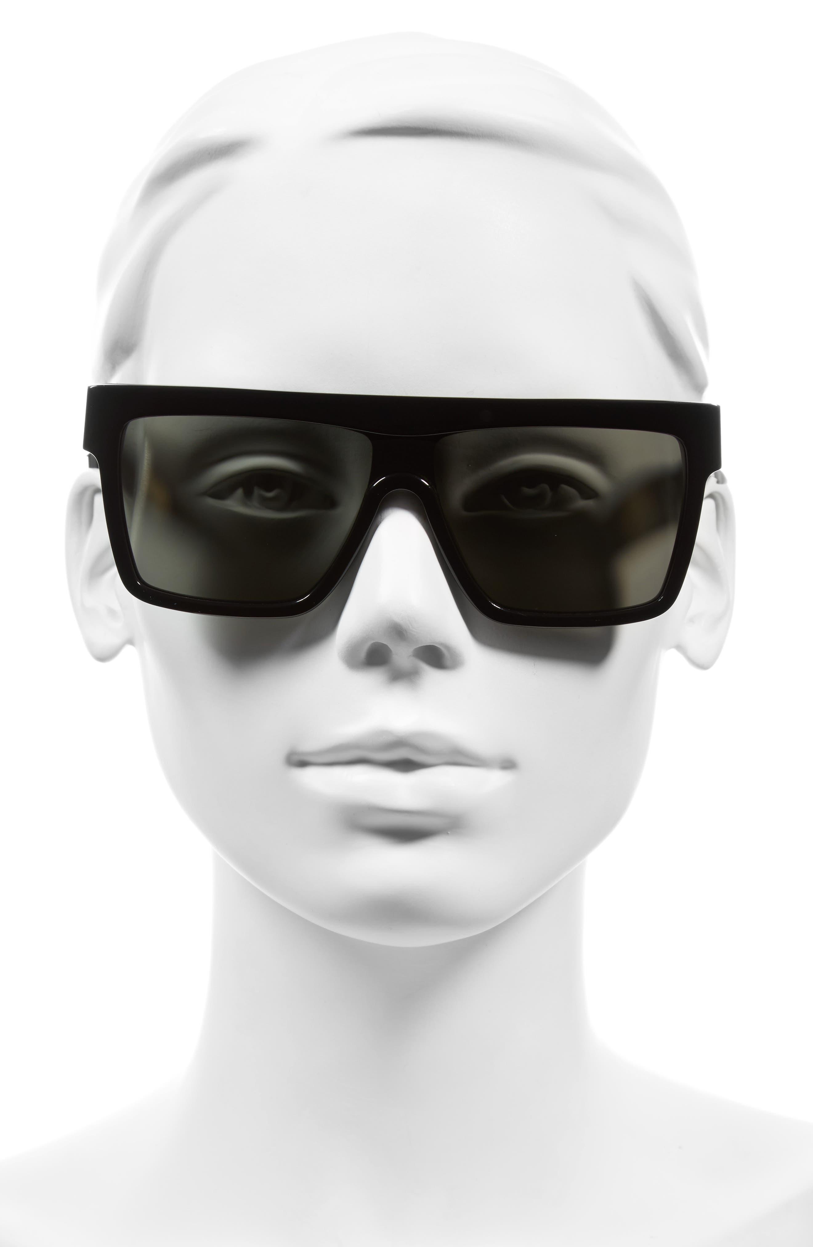 57mm Flat Top Sunglasses,                             Alternate thumbnail 2, color,                             001