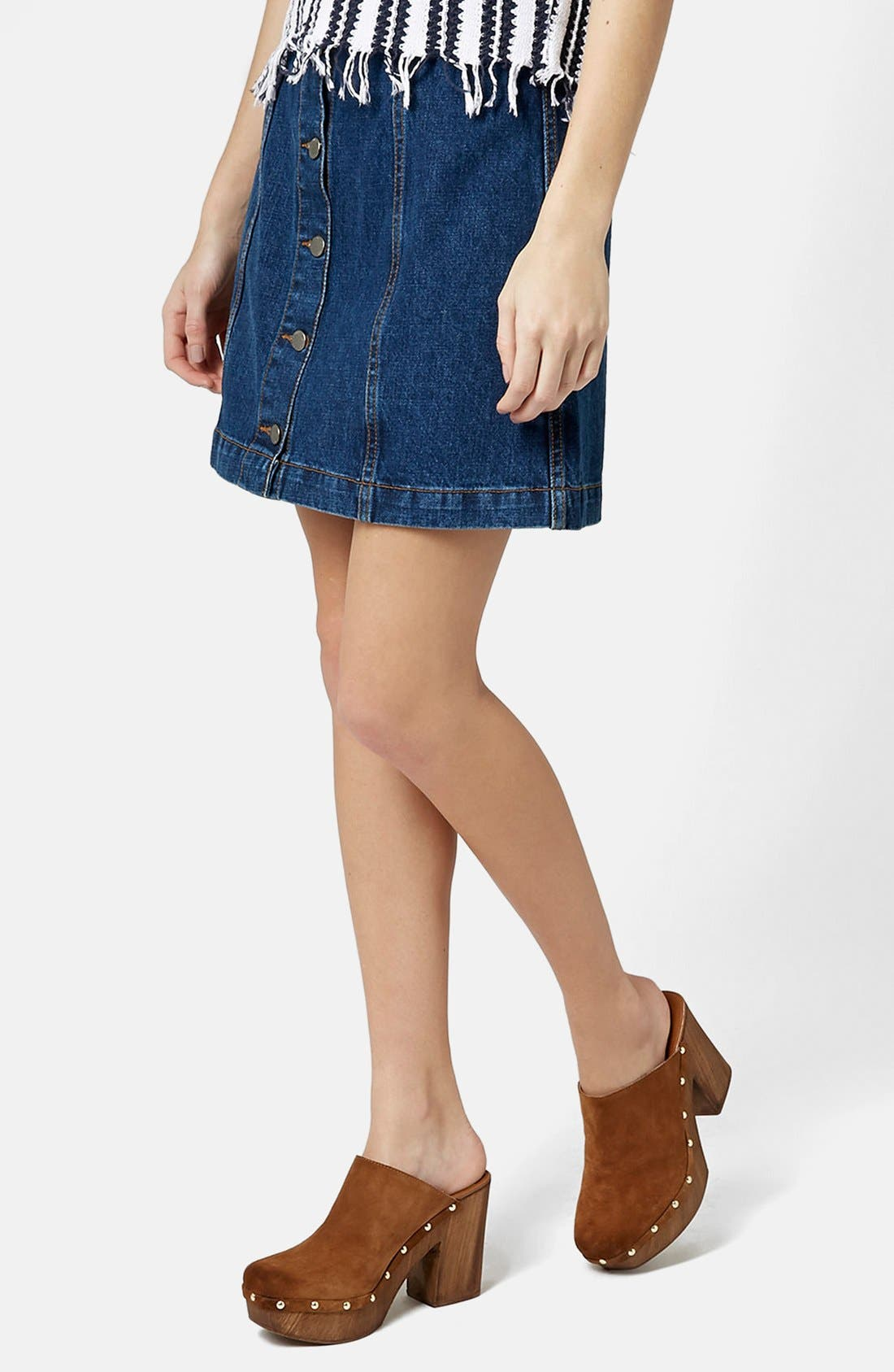 Moto Button Front Denim Miniskirt,                             Main thumbnail 1, color,                             400