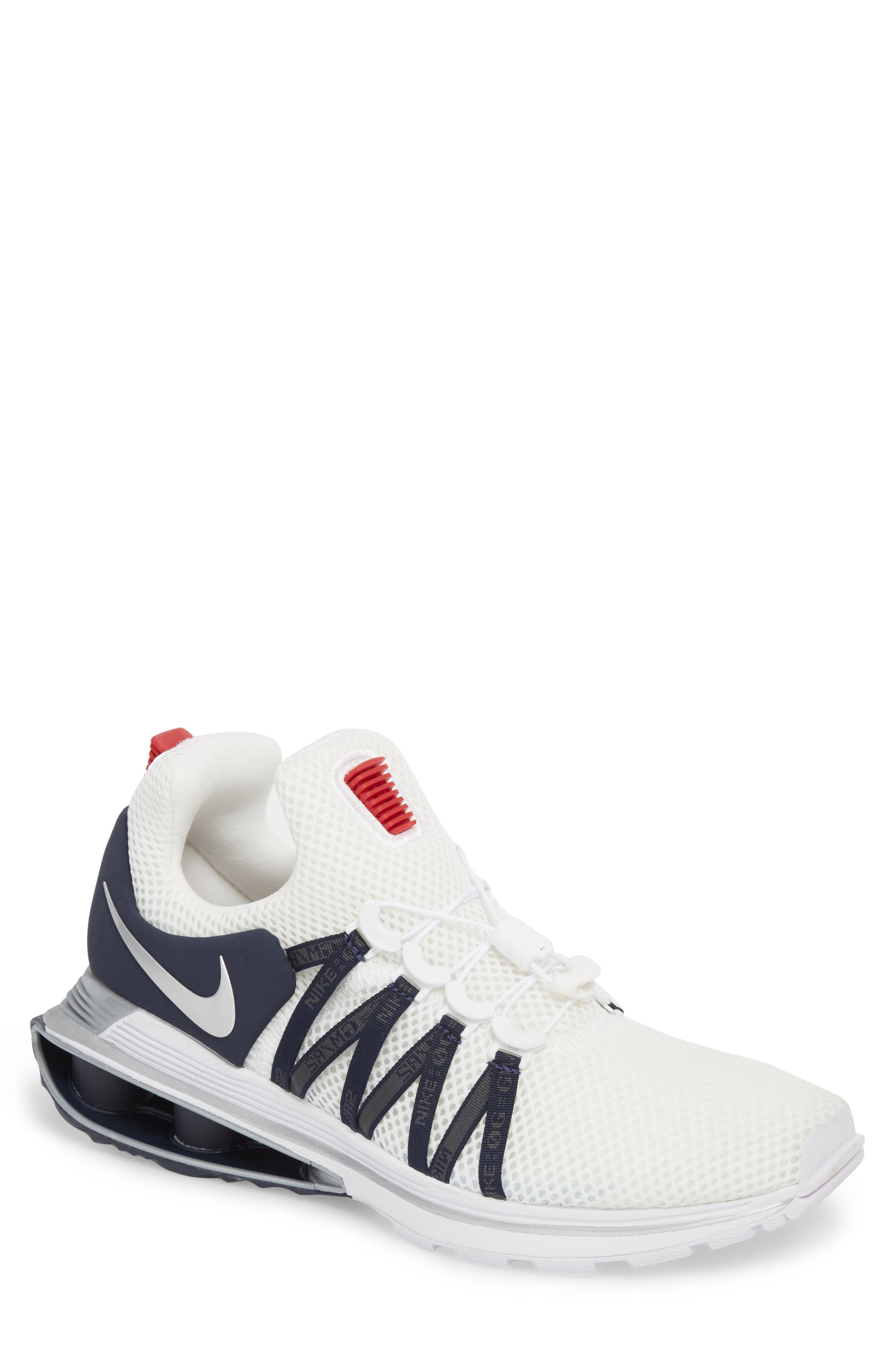 Shox Gravity Sneaker,                         Main,                         color, WHITE/ METALLIC SILVER
