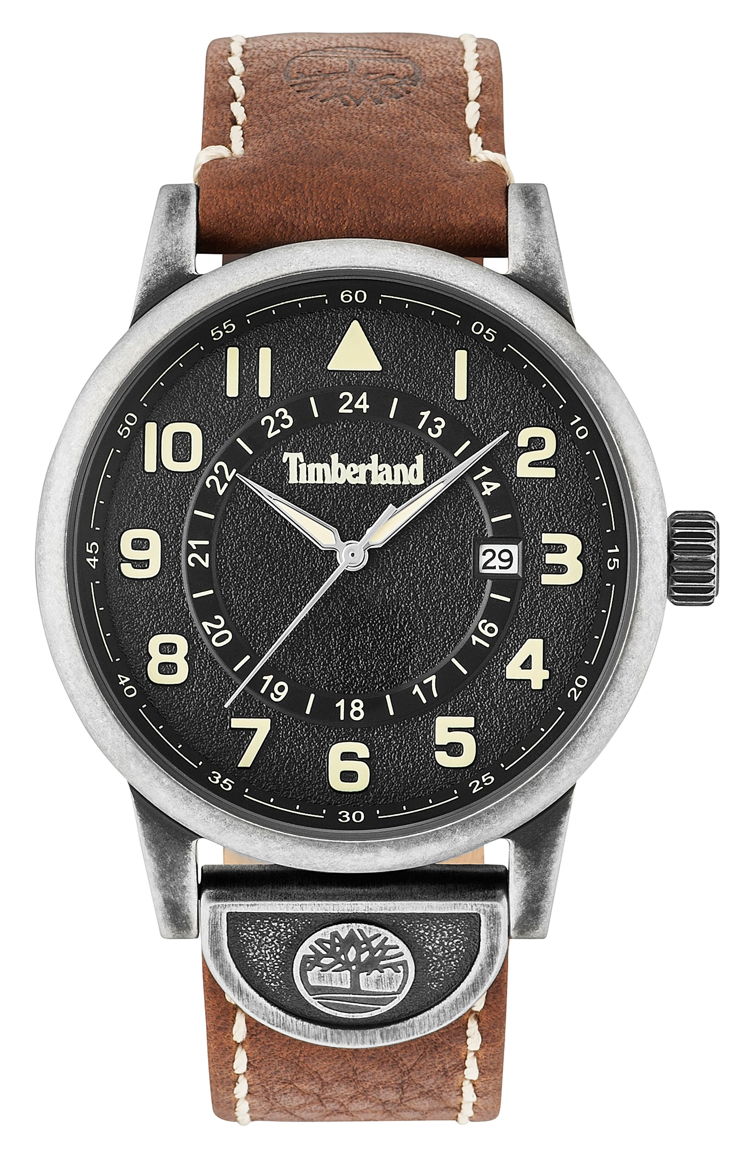 Cohasset Leather Strap Watch, 45mm,                         Main,                         color,
